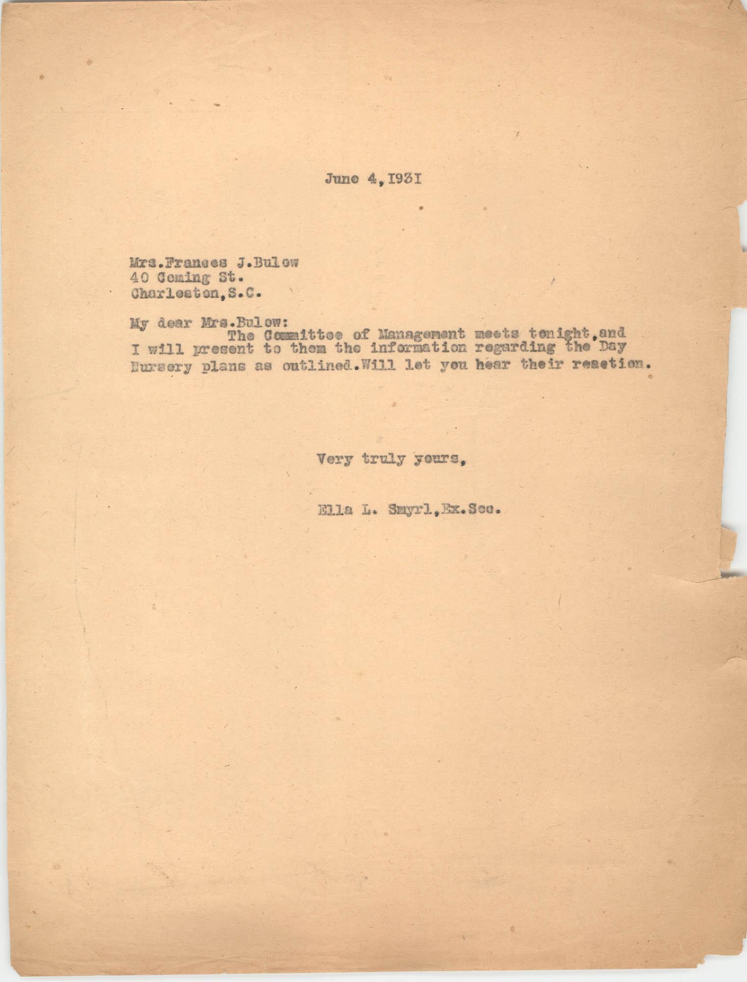 Letter from Ella L. Smyrl to Frances J. Bulow, June 4, 1931