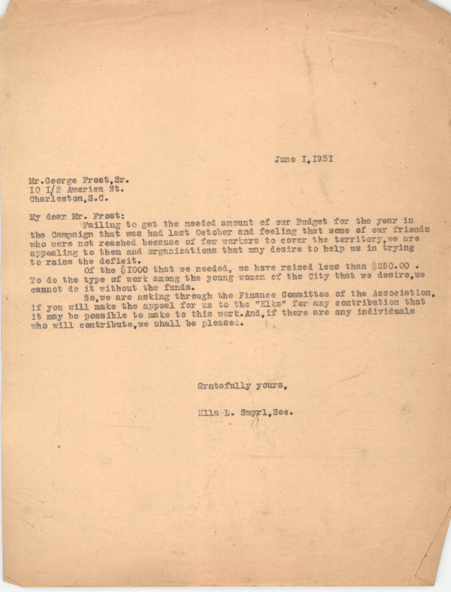 Letter from Ella L. Smyrl to George Frost, Sr., June 1, 1931
