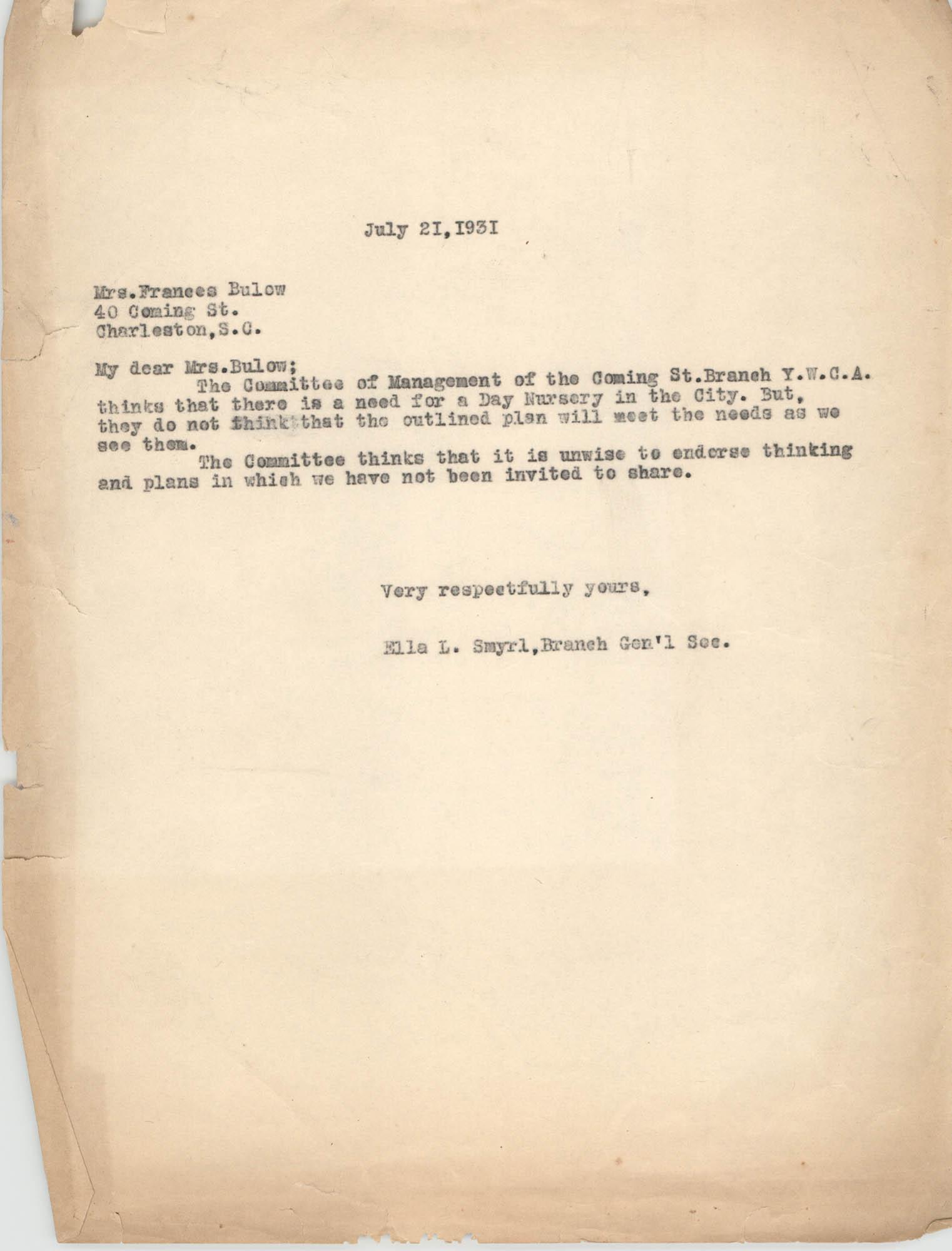 Letter from Ella L. Smyrl to Frances Bulow, July 21, 1931