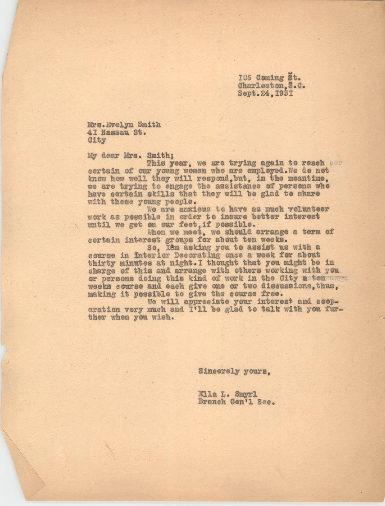 Letter from Ella L. Smyrl to Evelyn Smith, September 24, 1931