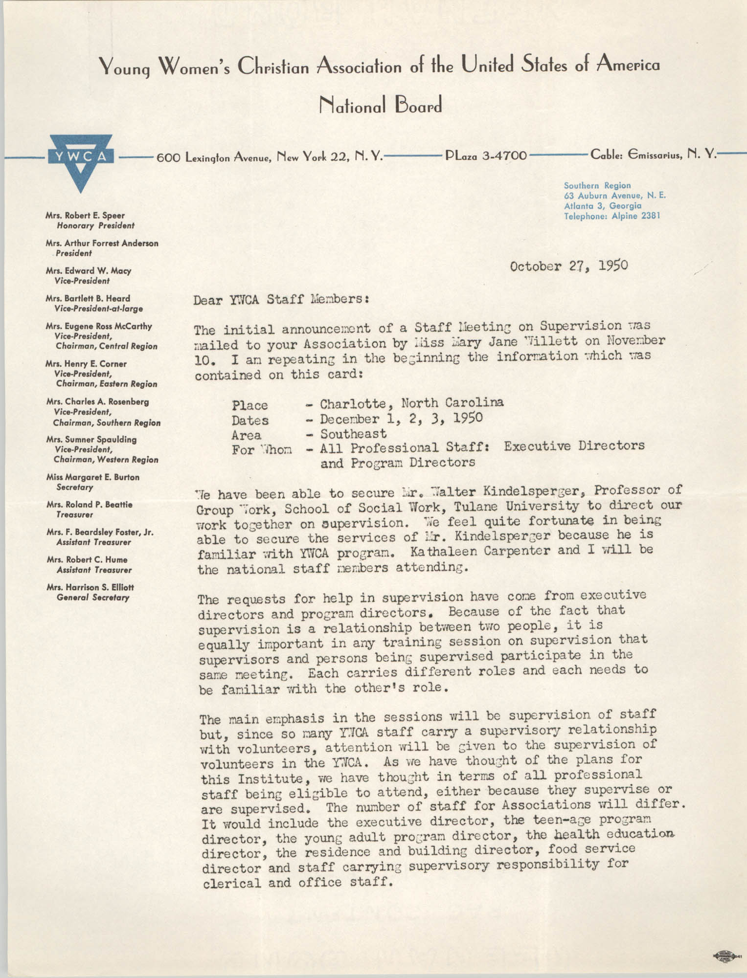Letter from Florence C. Harris to Y.W.C.A. Staff Members, October 27, 1950