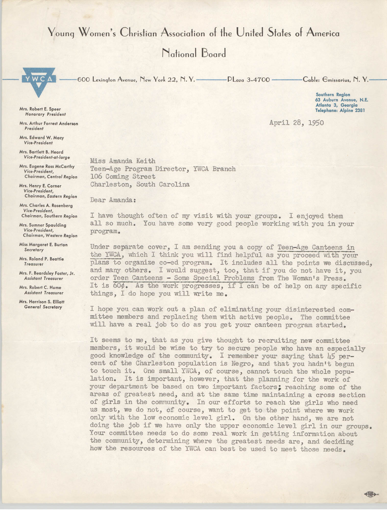 Letter from Kathaleen Carpenter to Amanda Keith, April 28, 1950