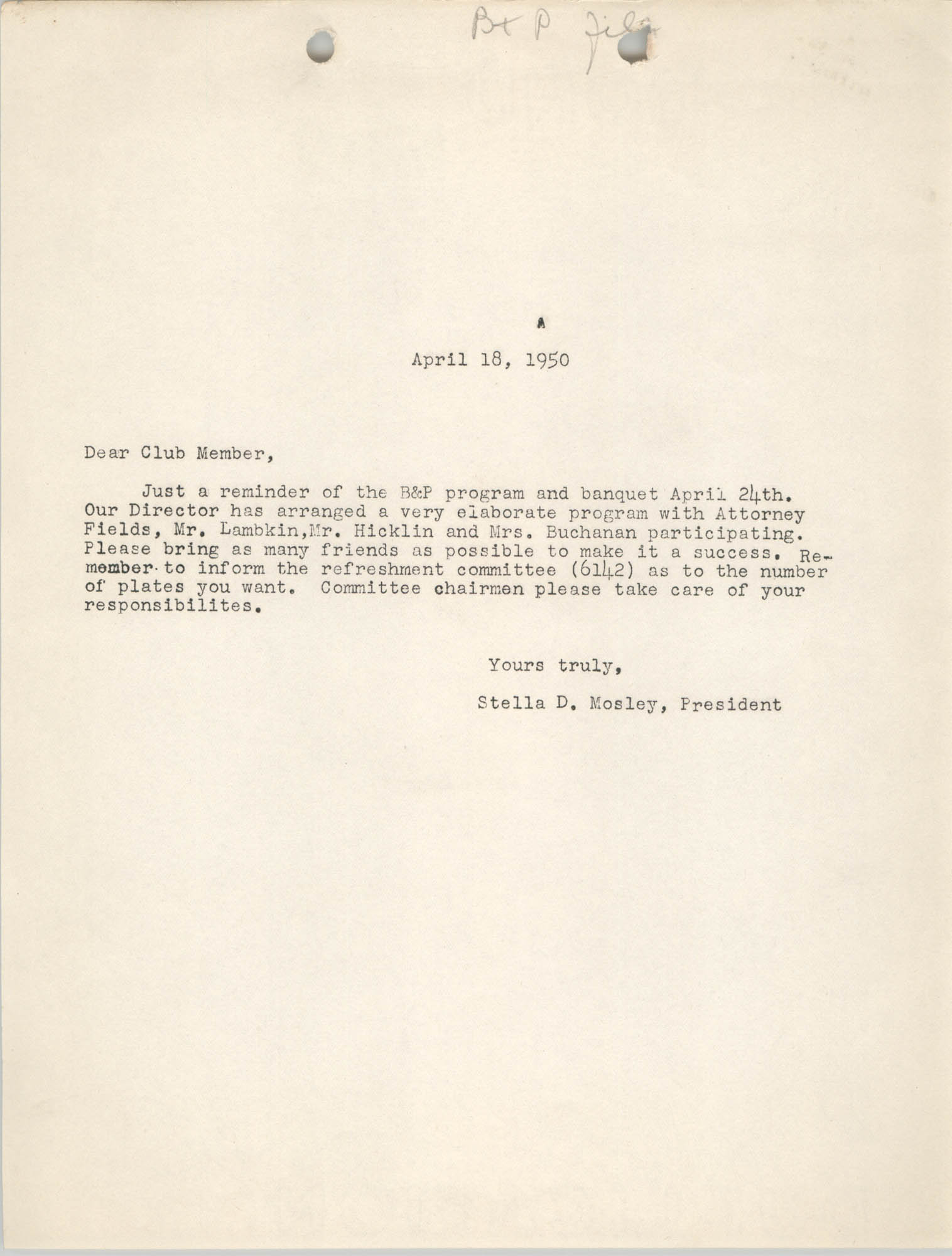 Letter from Stella D. Mosley, April 18, 1950