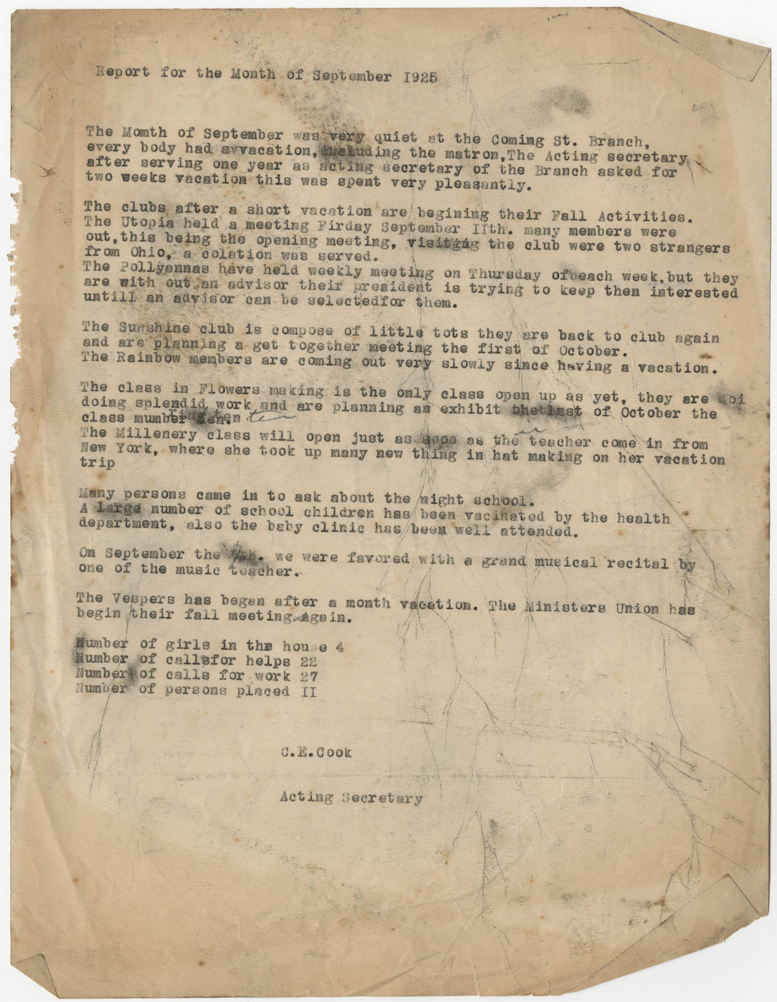 Monthly Report for the Coming Street Y.W.C.A., September 1925