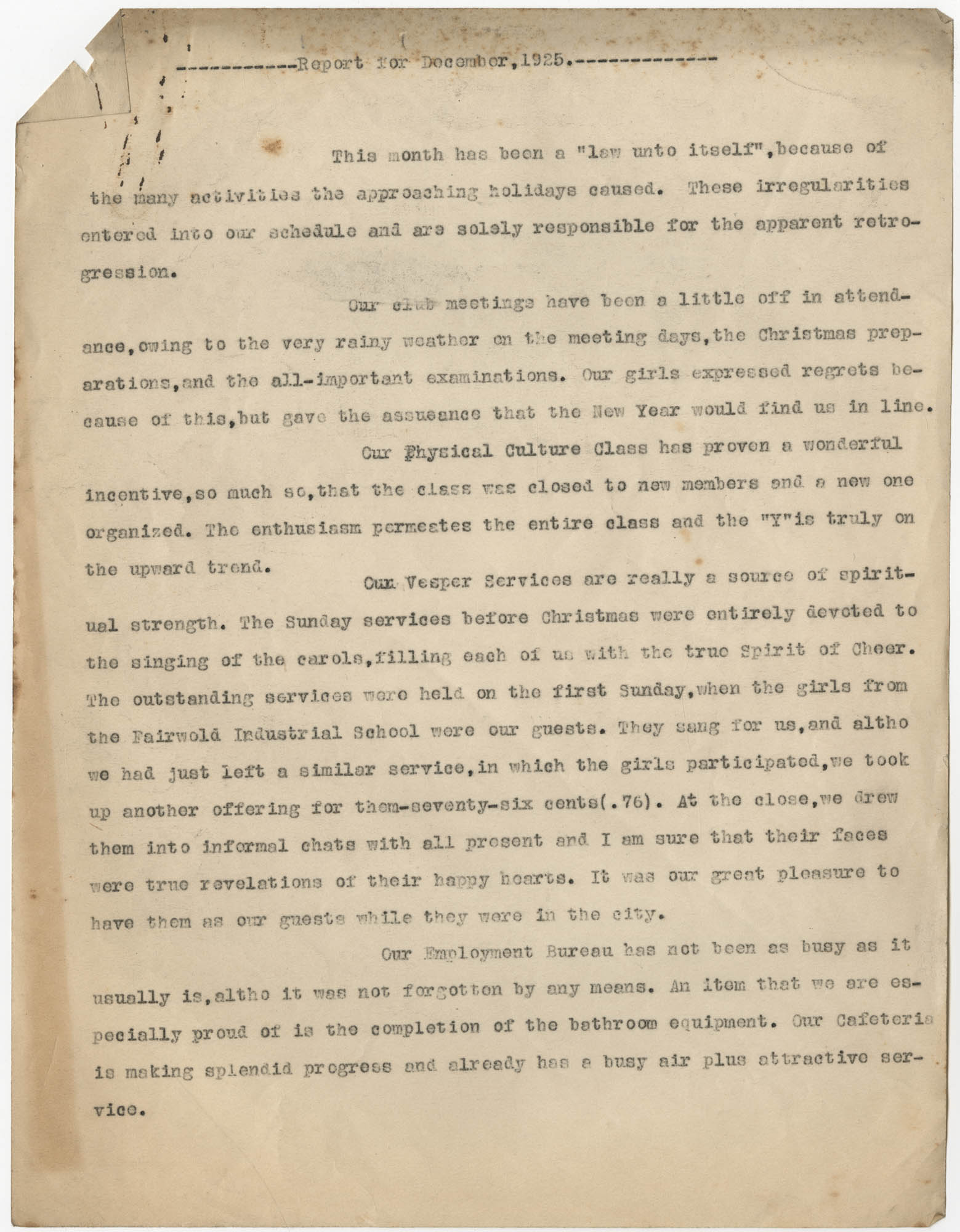 Monthly Report for the Coming Street Y.W.C.A., December 1925