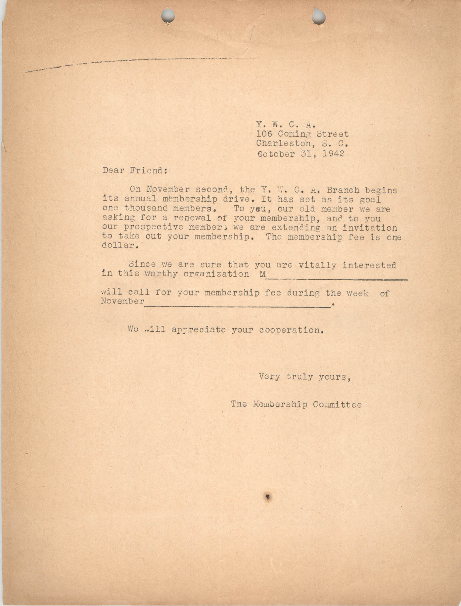 Letter from Coming Street Y.W.C.A. Membership Committee, October 31, 1942