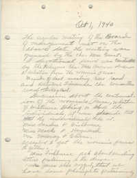 Minutes to the Board of Management, Coming Street Y.W.C.A., October 1, 1940