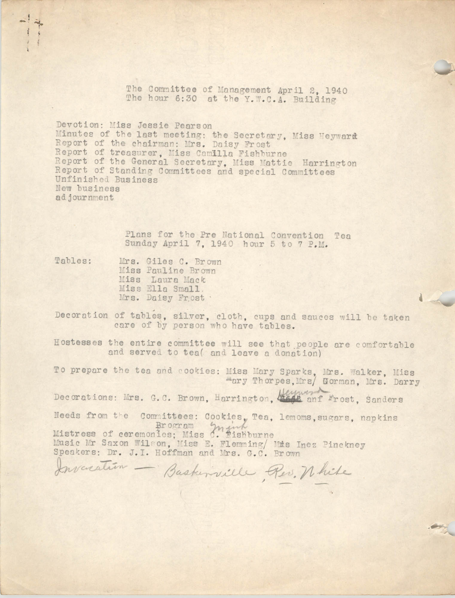 Minutes to the Committee of Management, Coming Street Y.W.C.A., April 2, 1940