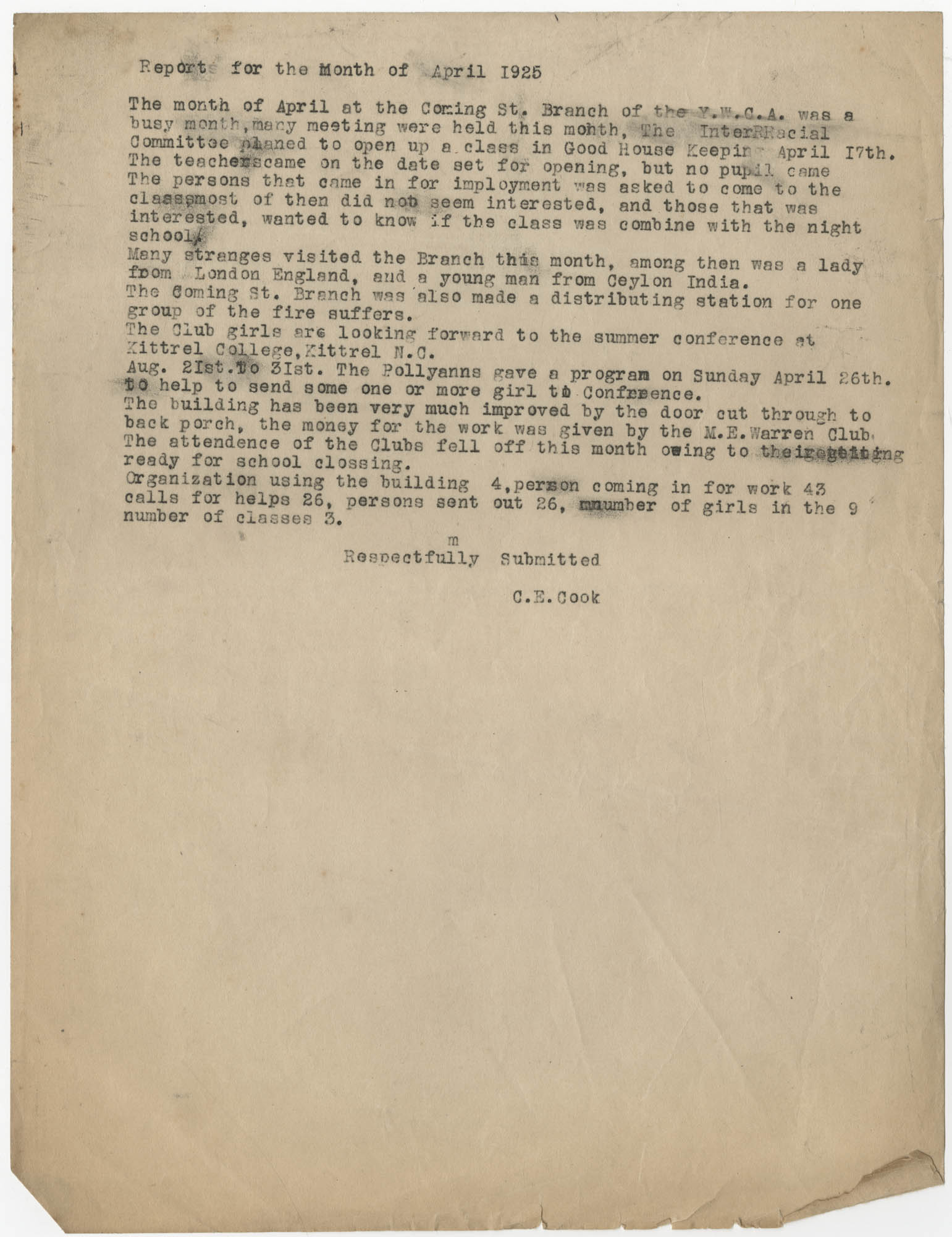 Monthly Report for the Coming Street Y.W.C.A., April 1925