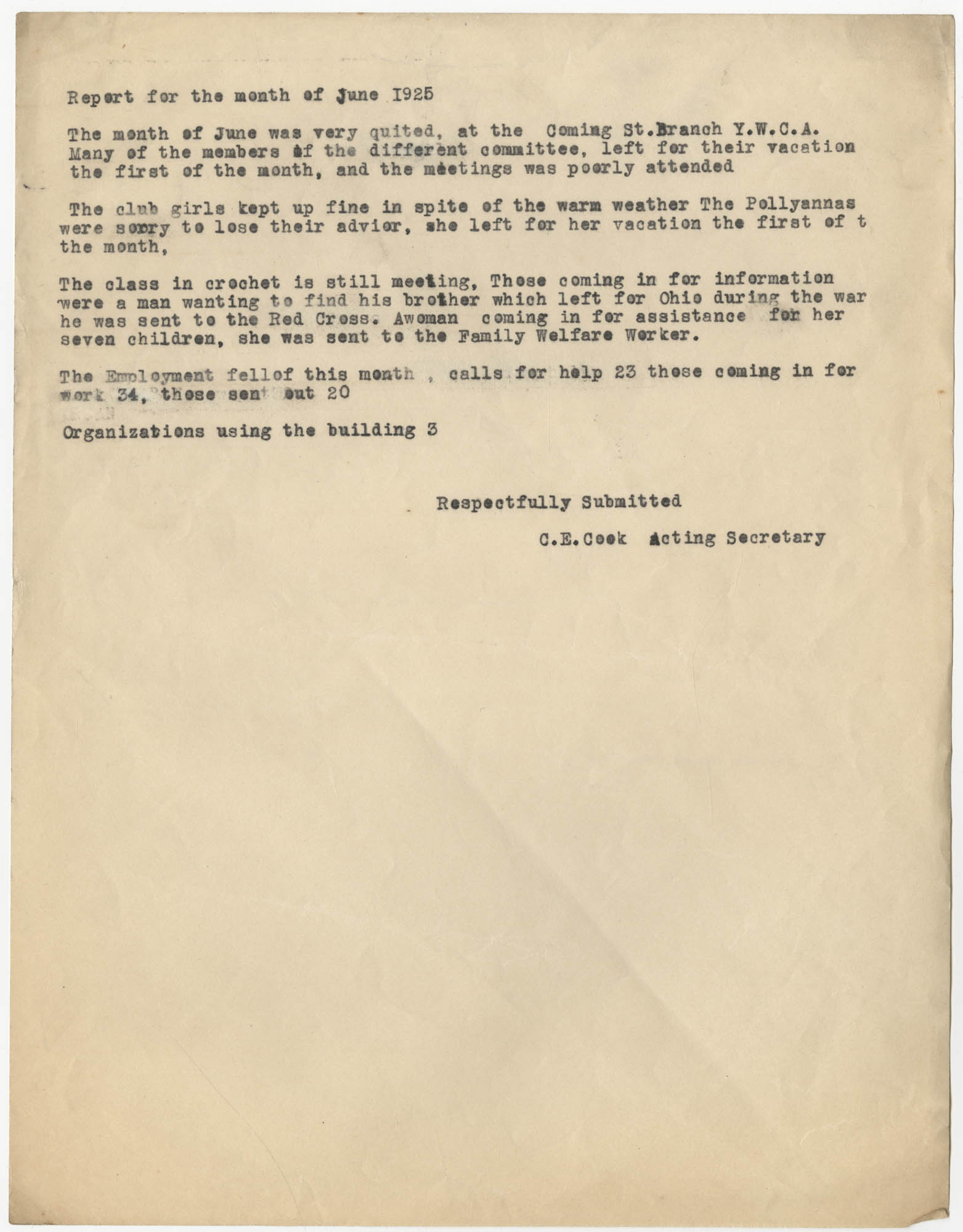 Monthly Report for the Coming Street Y.W.C.A., June 1925