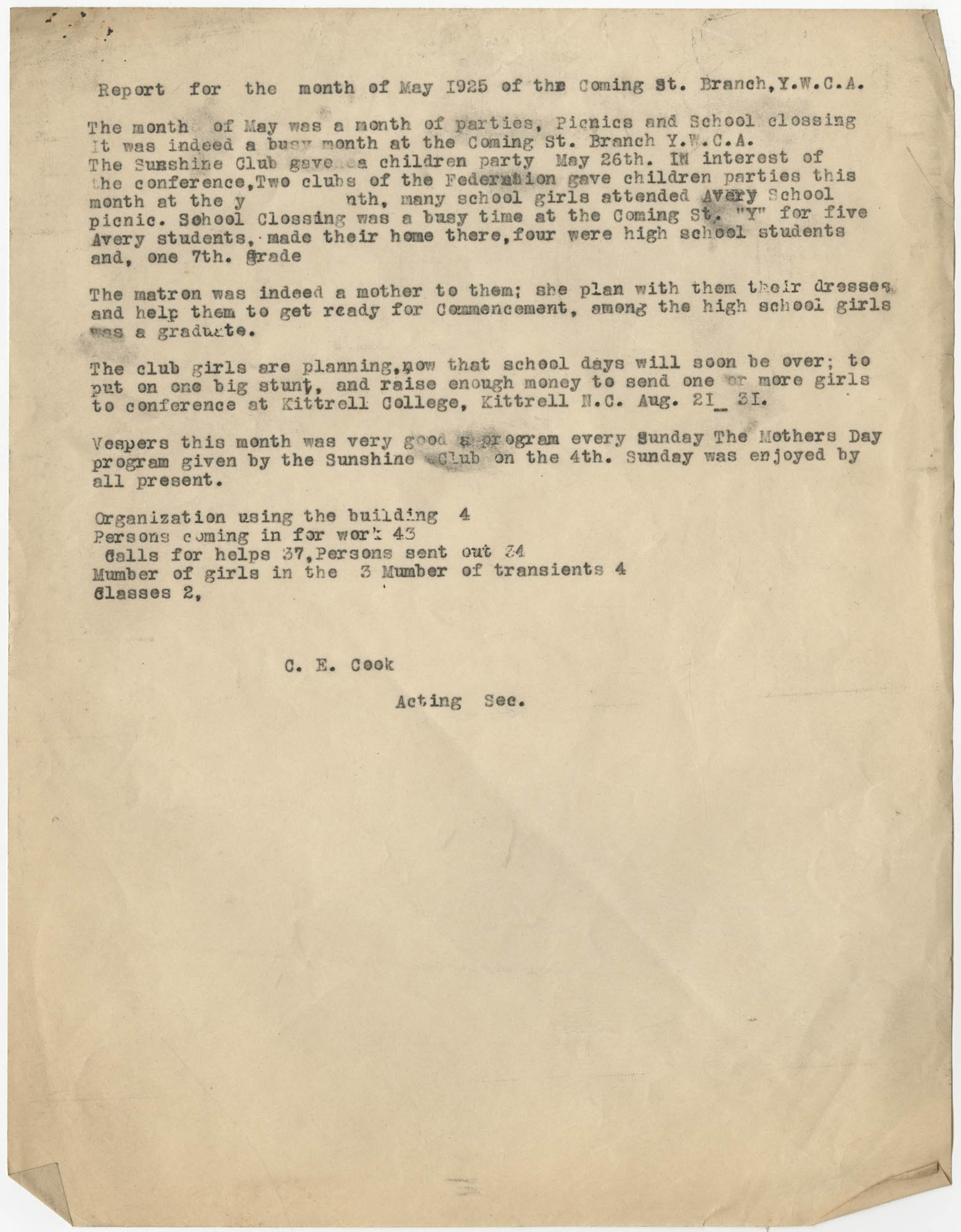 Monthly Report for the Coming Street Y.W.C.A., May 1925