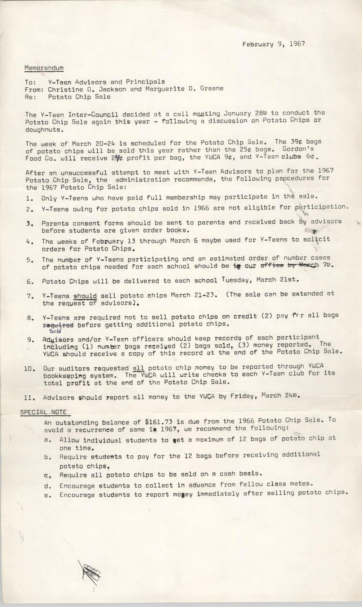 Coming Street Y.W.C.A. Memorandum, February 9, 1967