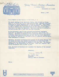 Letter from Mrs. John C. Hawk to Coming Street Y.W.C.A., March 1, 1967