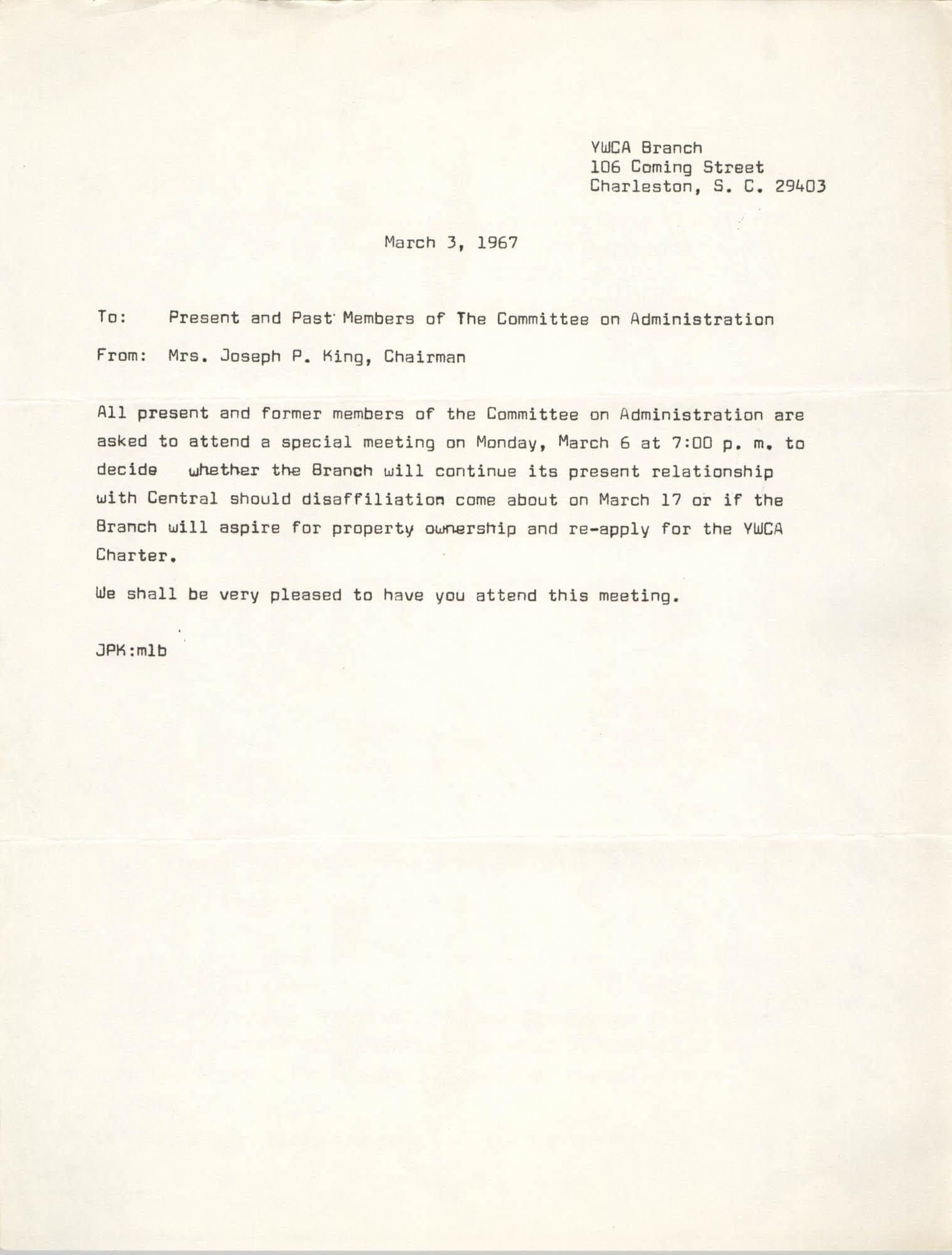 Coming Street Y.W.C.A. Memorandum, March 3, 1967