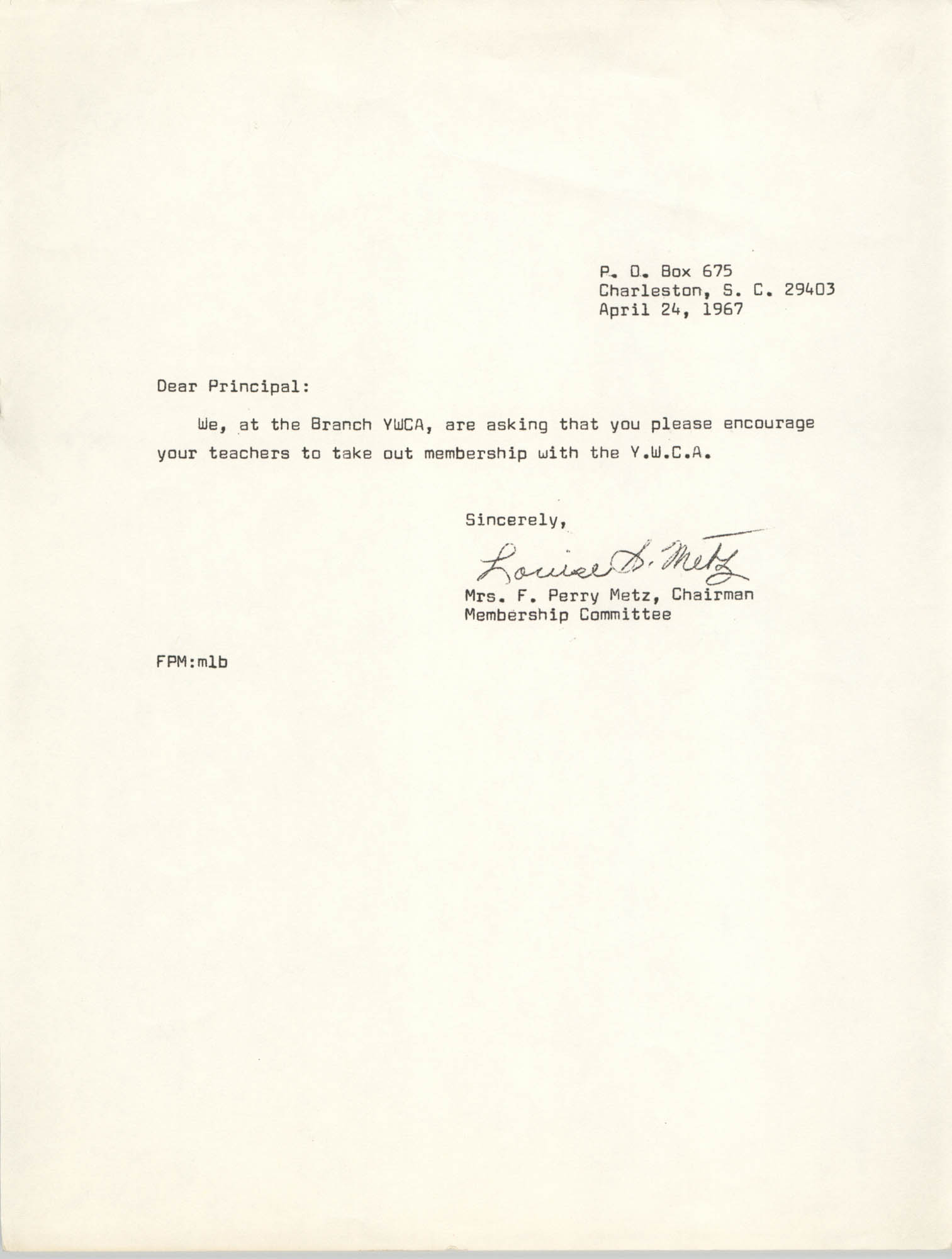 Letter from Mrs. F. Perry Metz, April 24, 1967