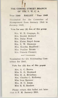 Coming Street Y.W.C.A. Ballot for 1940