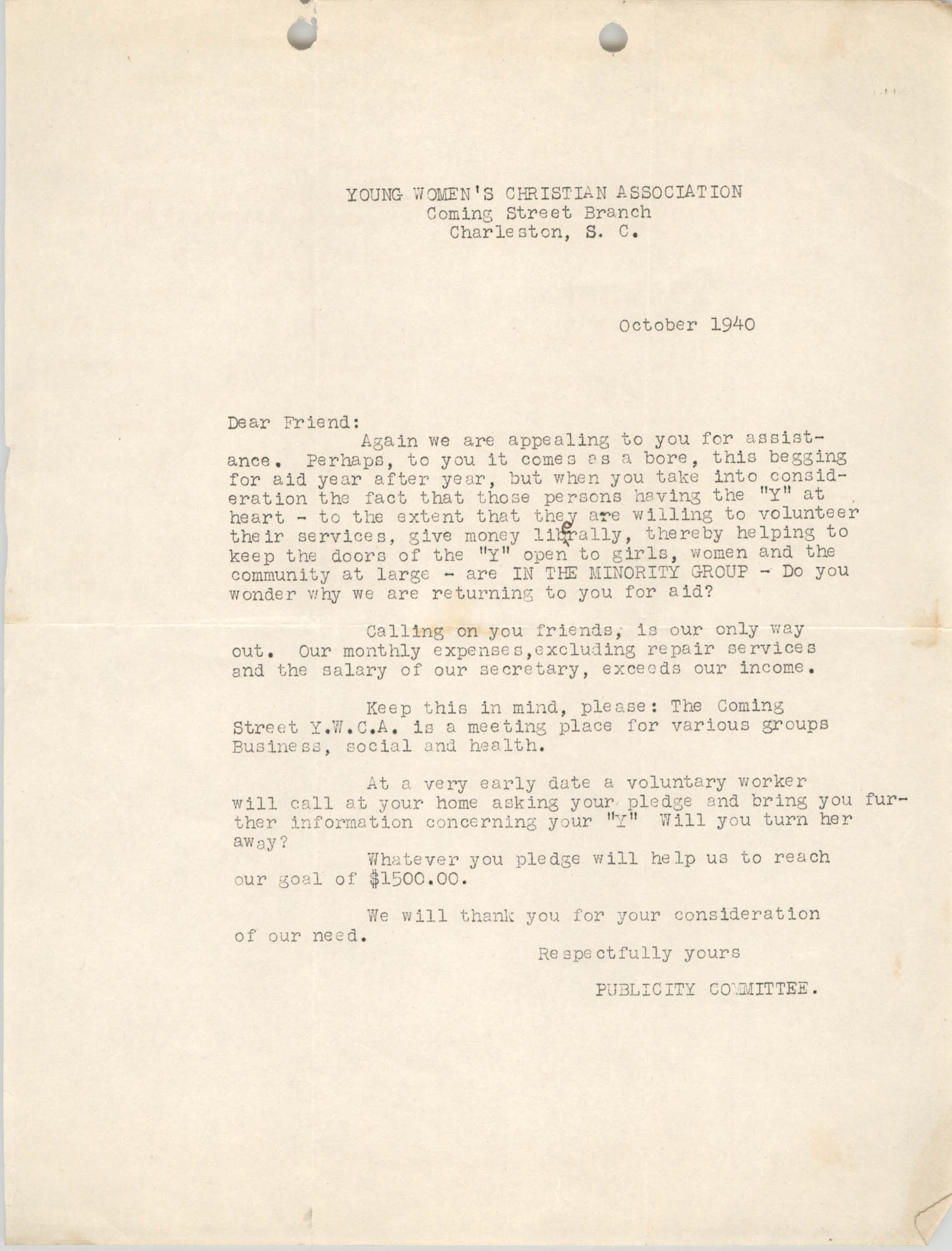 Letter from Coming Street Y.W.C.A., October 1940