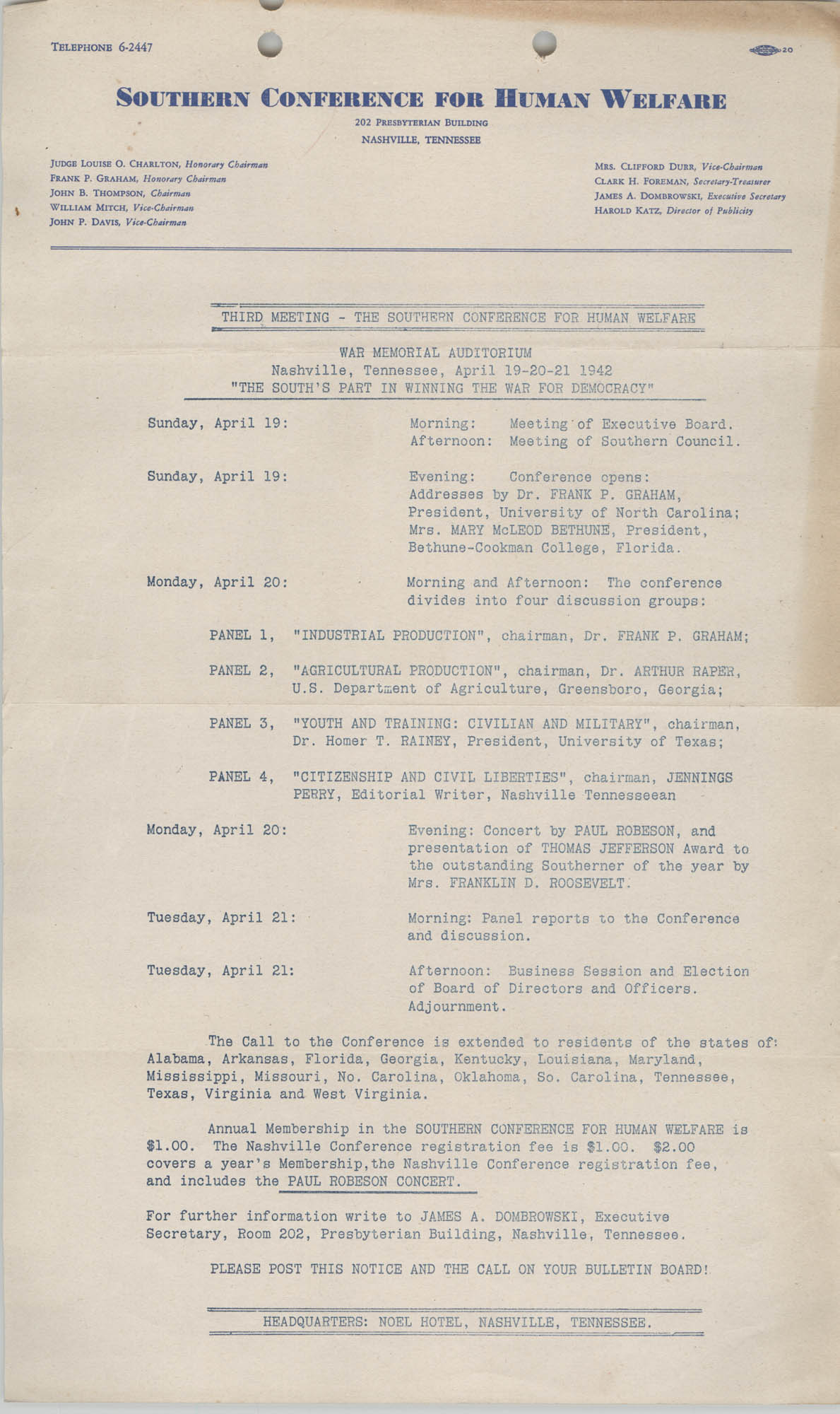 Southern Conference for Human Welfare Agenda, April 19-21, 1942