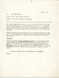 Coming Street Y.W.C.A. Memorandum, May 8, 1967