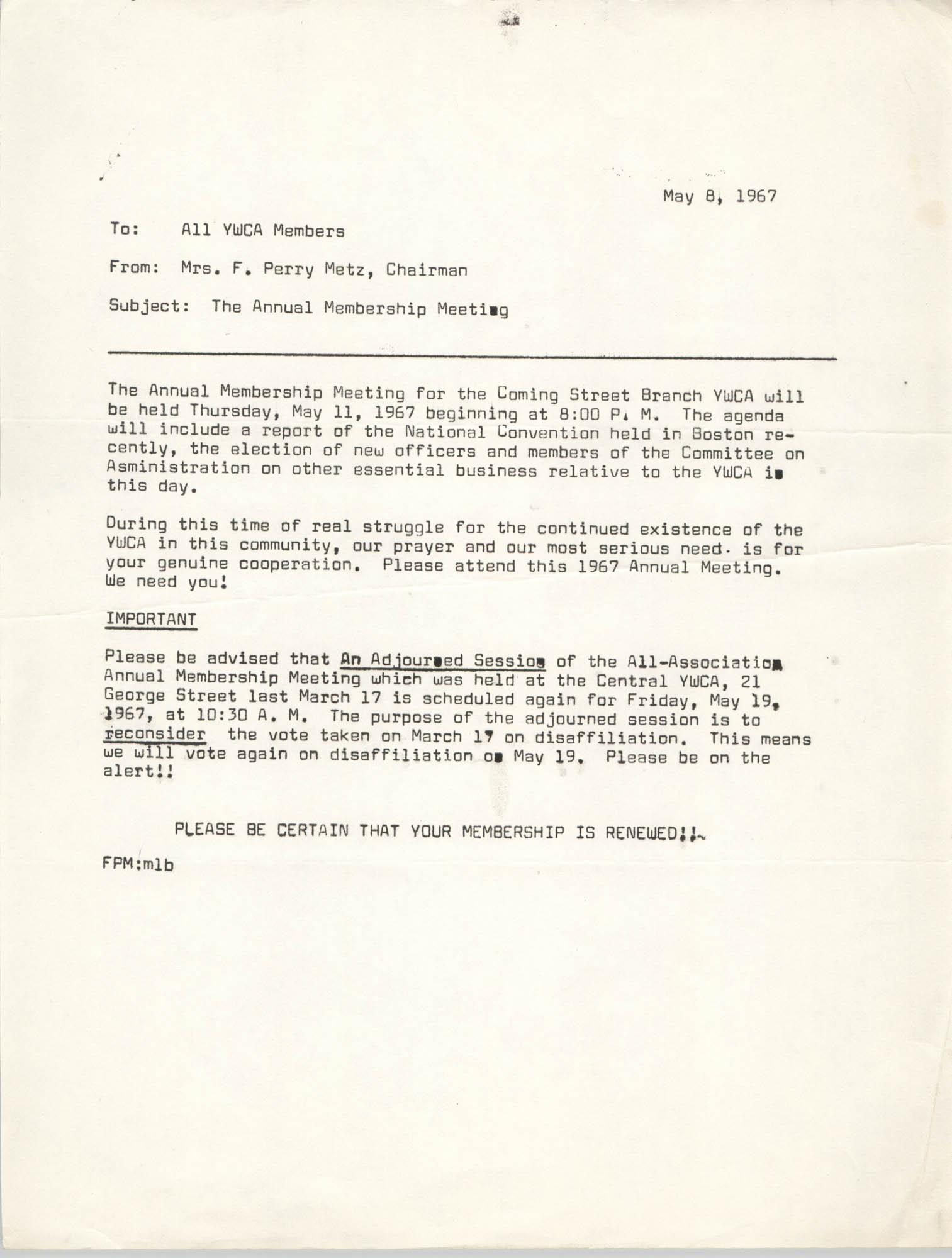 Coming Street Y.W.C.A. Memorandum, May 8, 1967