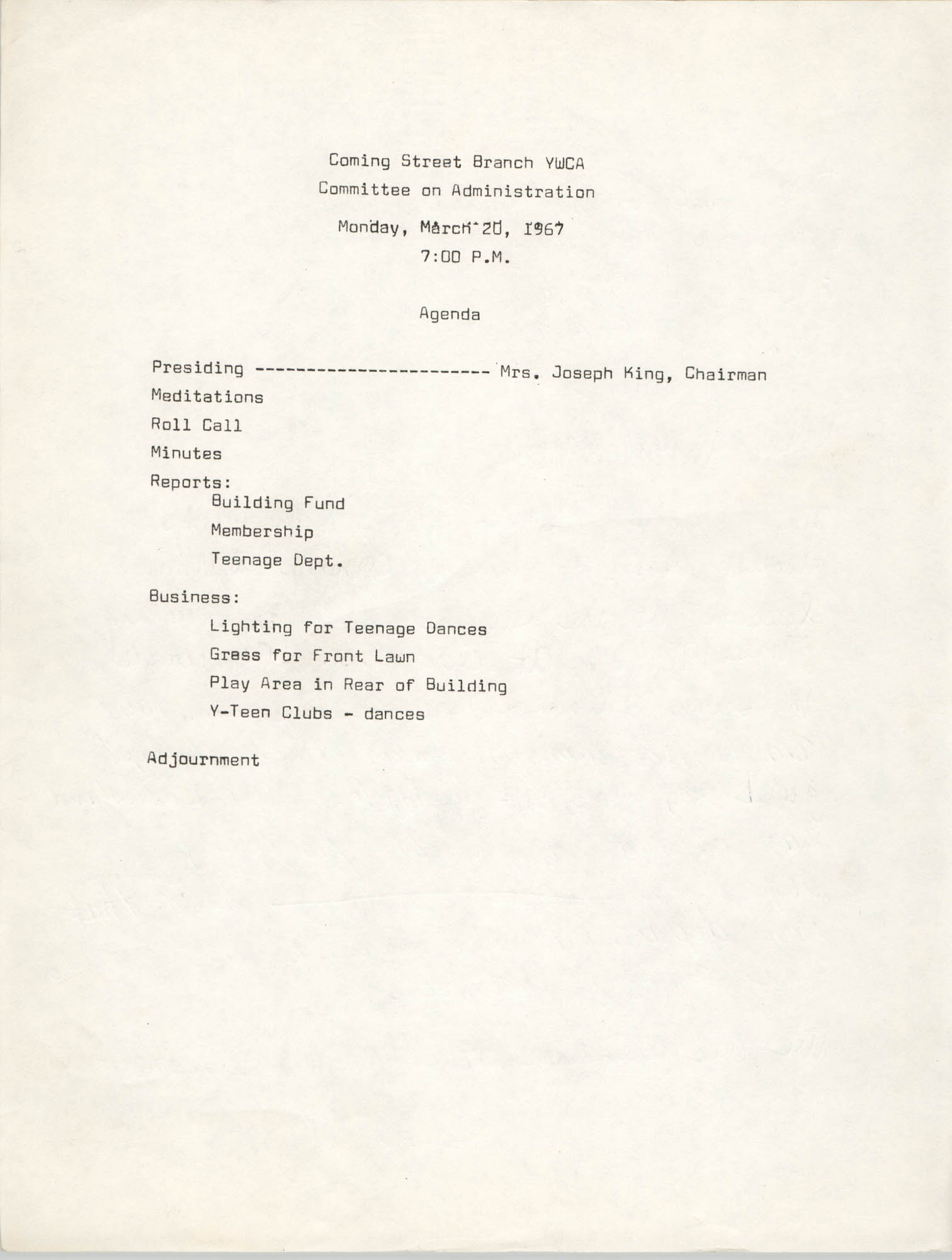 Agenda, Coming Street Y.W.C.A. Committee on Administration, March 20, 1967