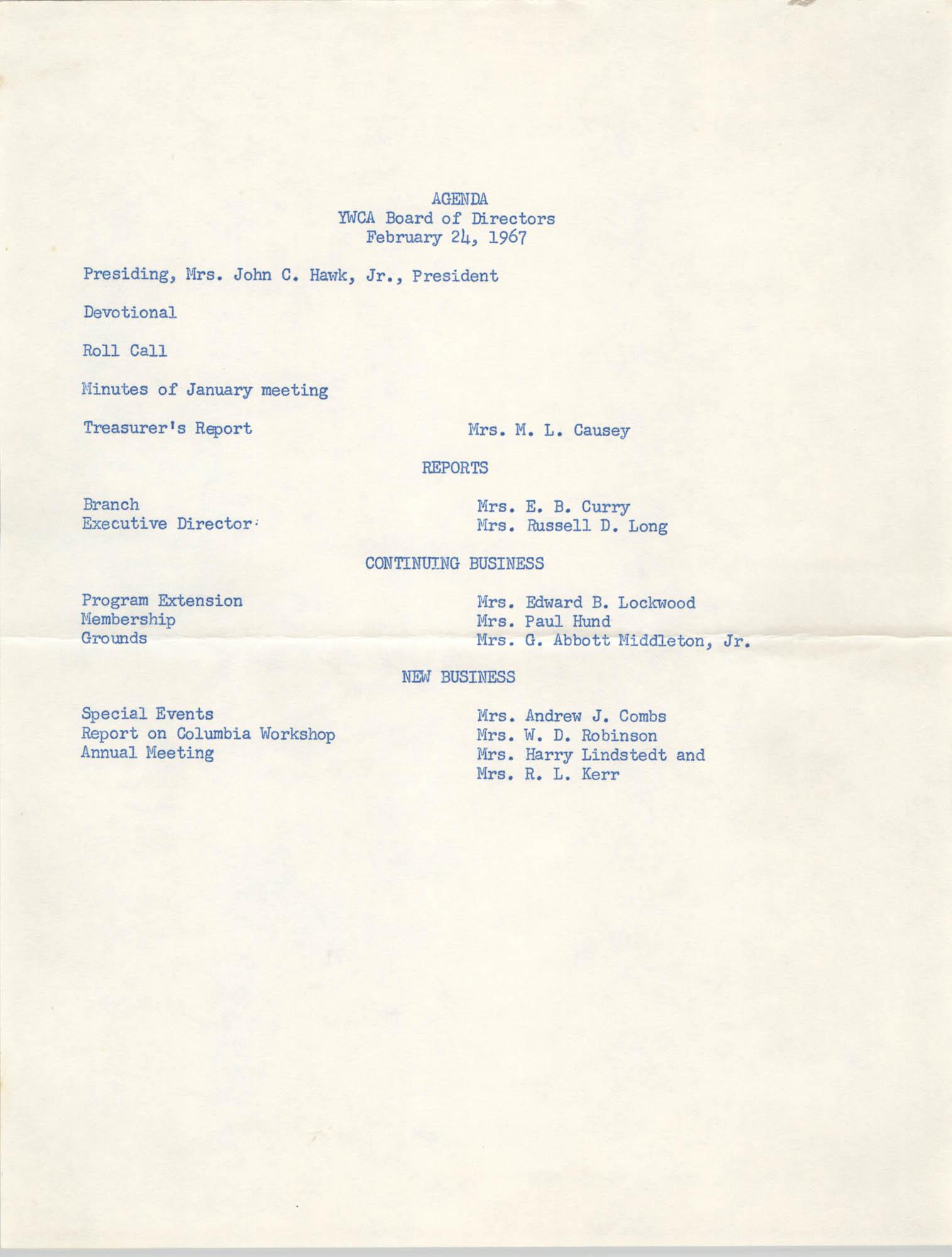 Agenda, Coming Street Y.W.C.A. Board of Directors, February 24, 1967