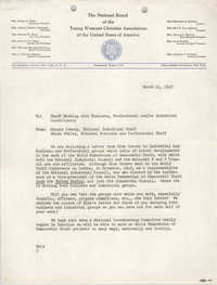 National Board of the Y.W.C.A. Memorandum, March 11, 1947