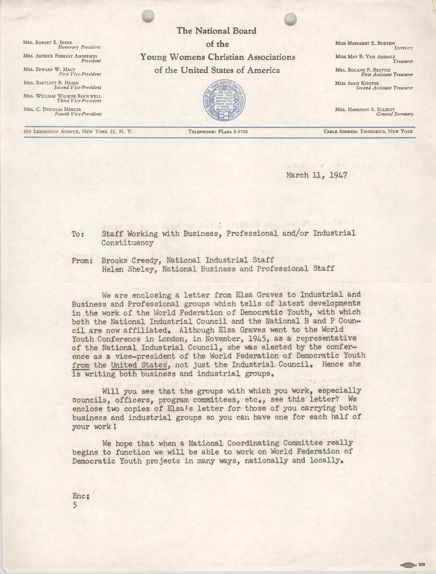 National Board of the Y.W.C.A. Memorandum, March 11, 1947