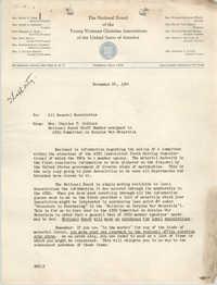 National Board of the Y.W.C.A. Memorandum, November 24, 1944