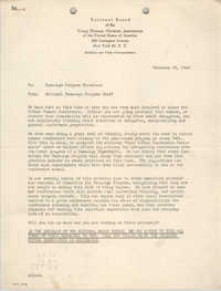 National Board of the Y.W.C.A. Memorandum, February 25, 1948