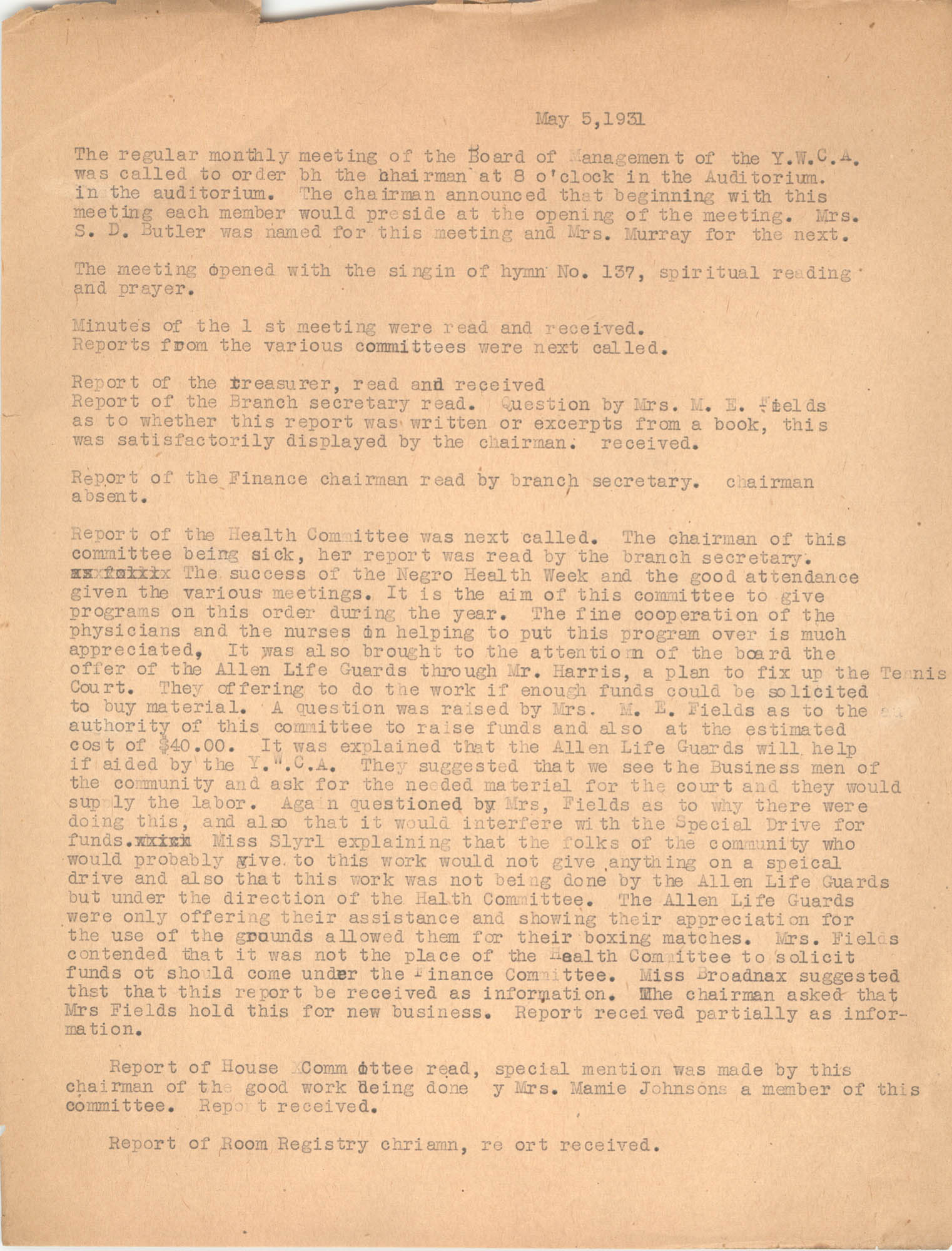 Minutes to the Board of Management, Coming Street Y.W.C.A., May 5, 1931