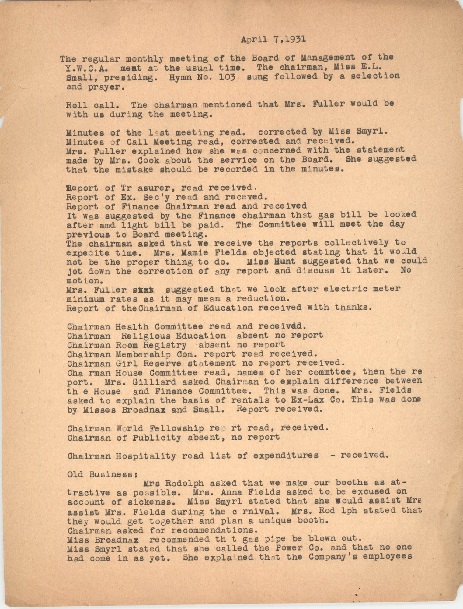 Minutes to the Board of Management, Coming Street Y.W.C.A., April 7, 1931