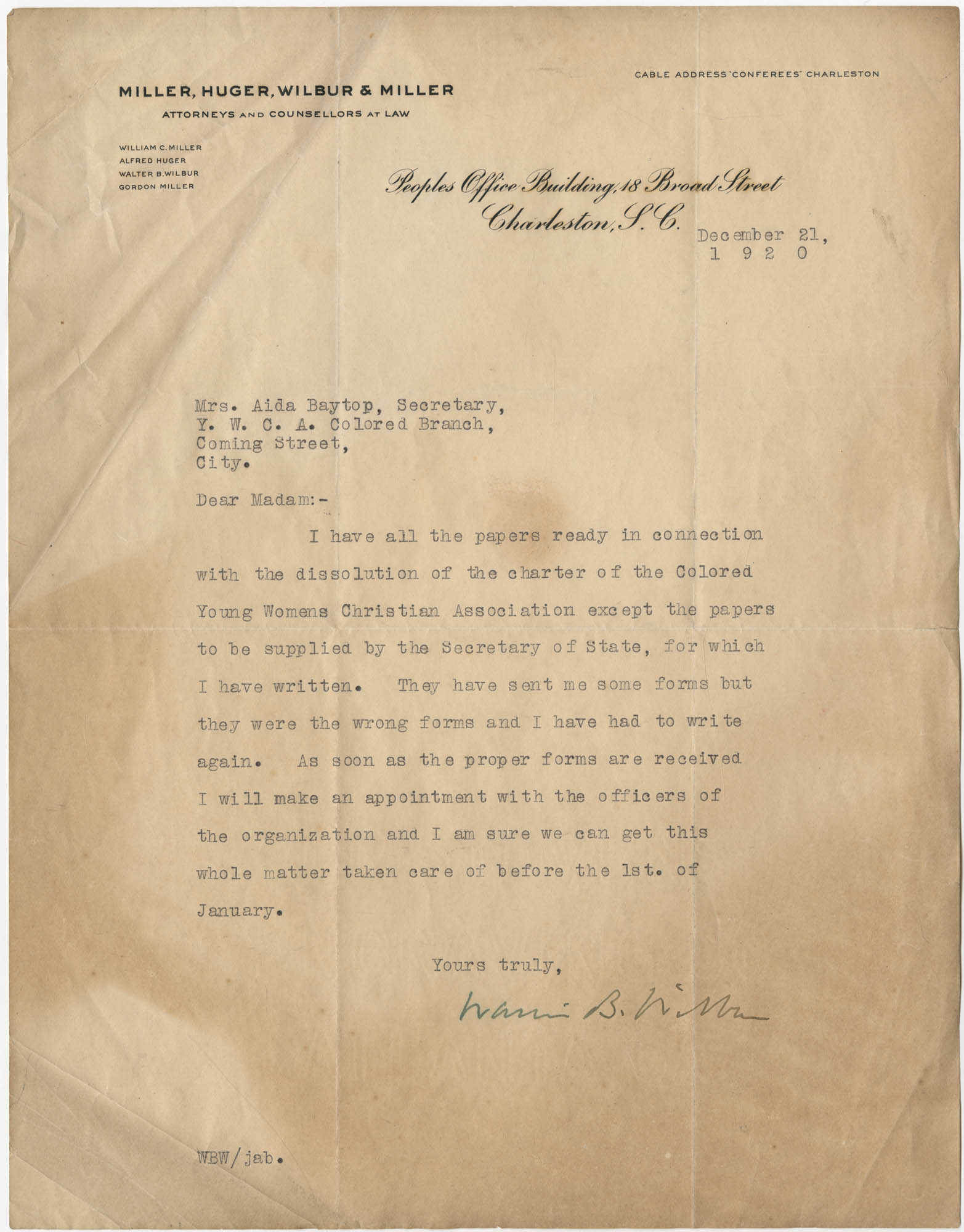 Letter from Walter B. Wilbur to Ada C. Baytop, December 21, 1920