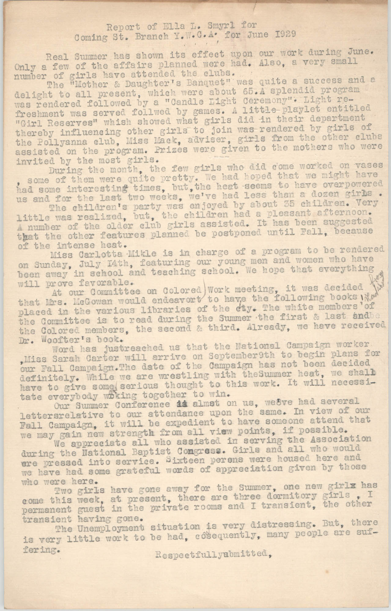 Monthly Report for the Coming Street Y.W.C.A., June 1929
