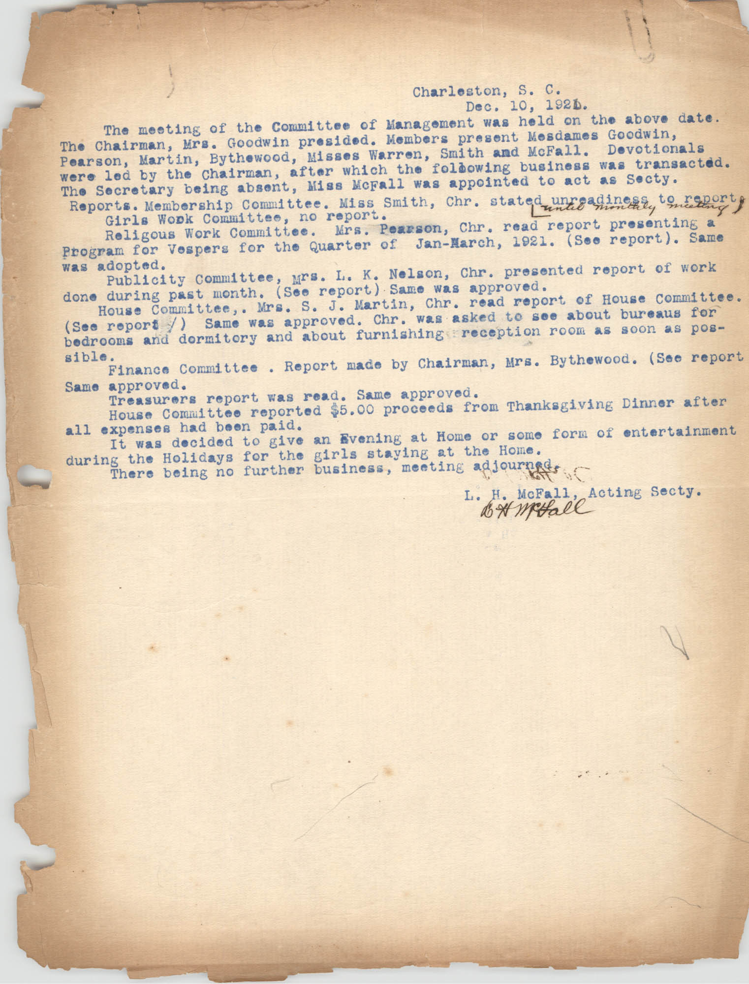 Minutes to the Management Committee, Coming Street Y.W.C.A., December 10, 1920