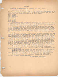 Minutes to the Management Committee, Coming Street Y.W.C.A., November 5, 1920