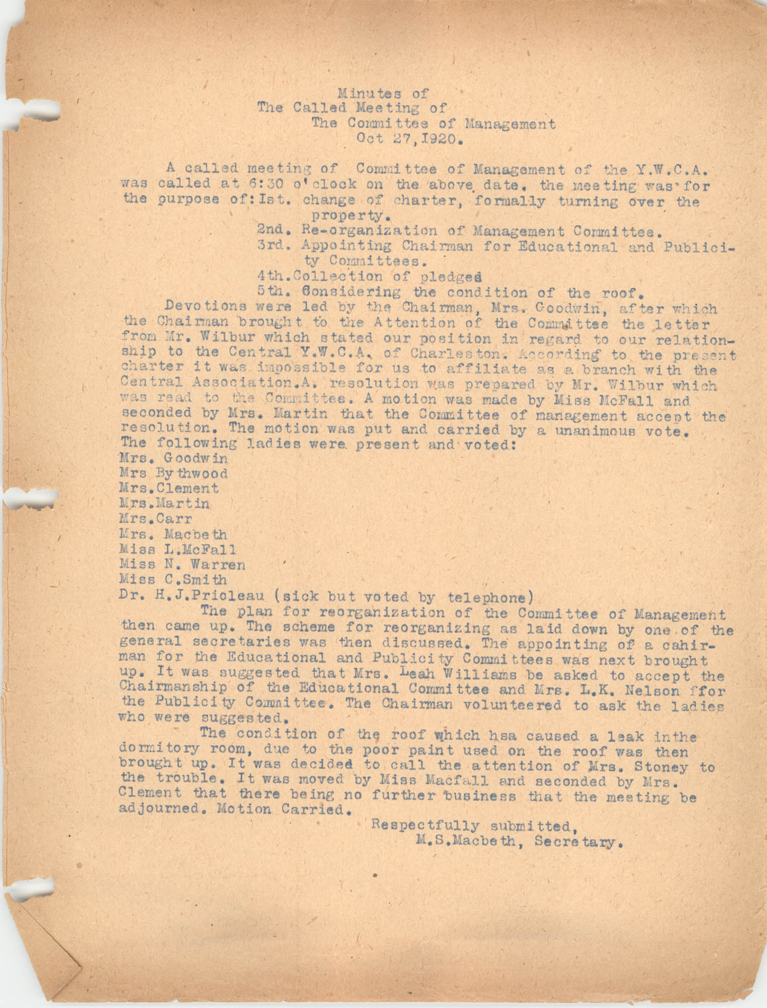 Minutes to the Management Committee, Coming Street Y.W.C.A., October 27, 1920