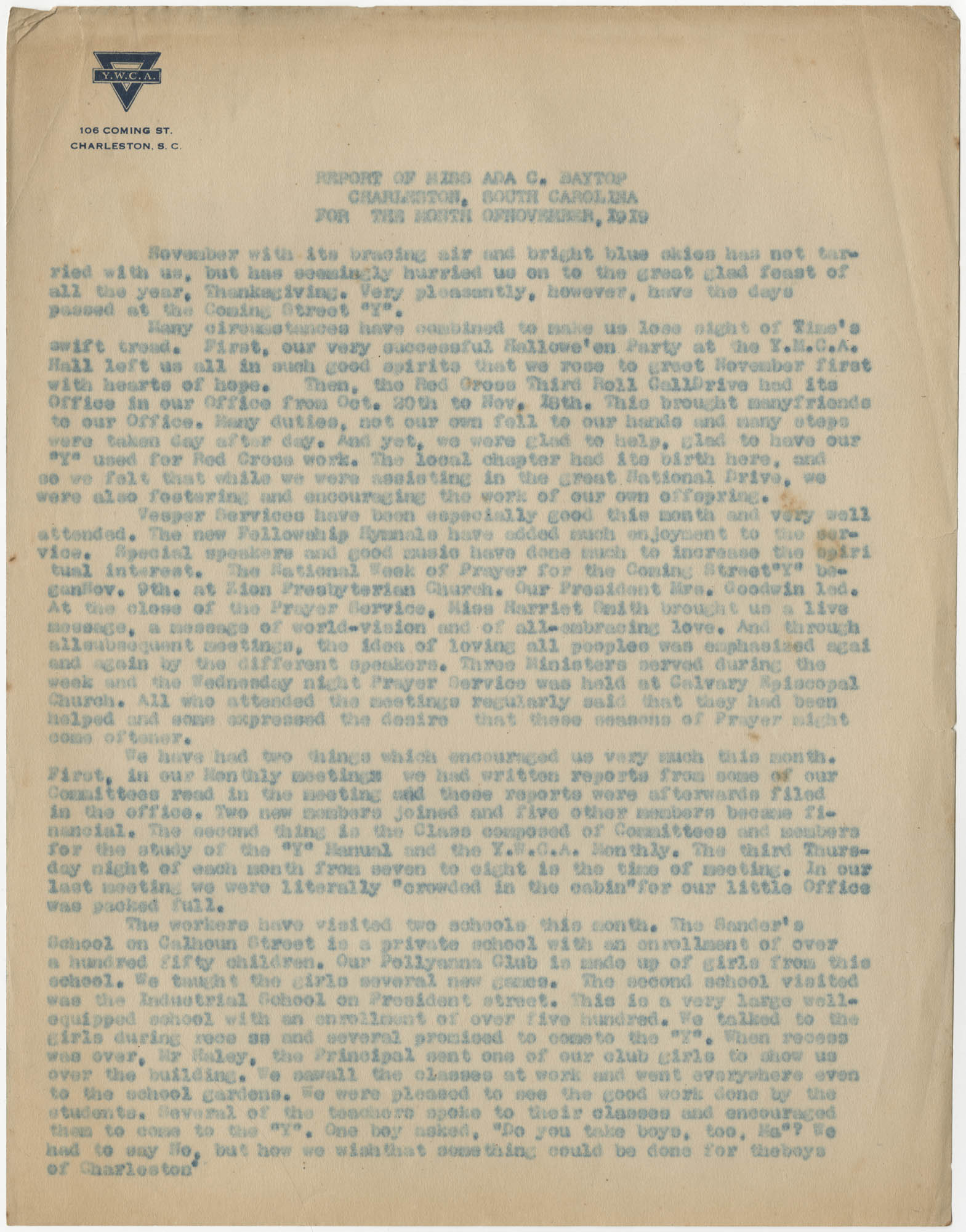 Coming Street Y.W.C.A. Report for November 1919
