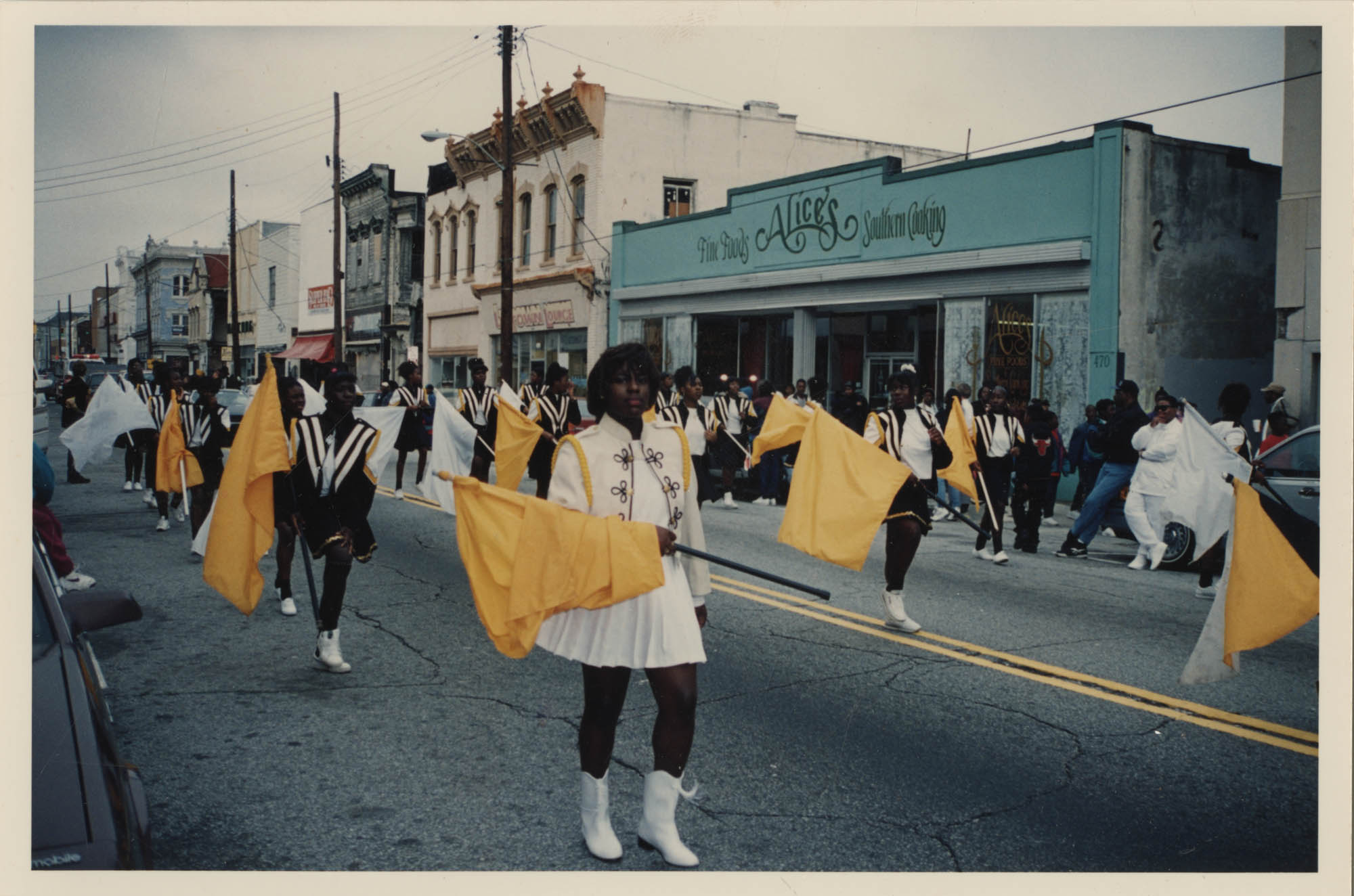 Photograph of a Color Guard Performing in a Parade