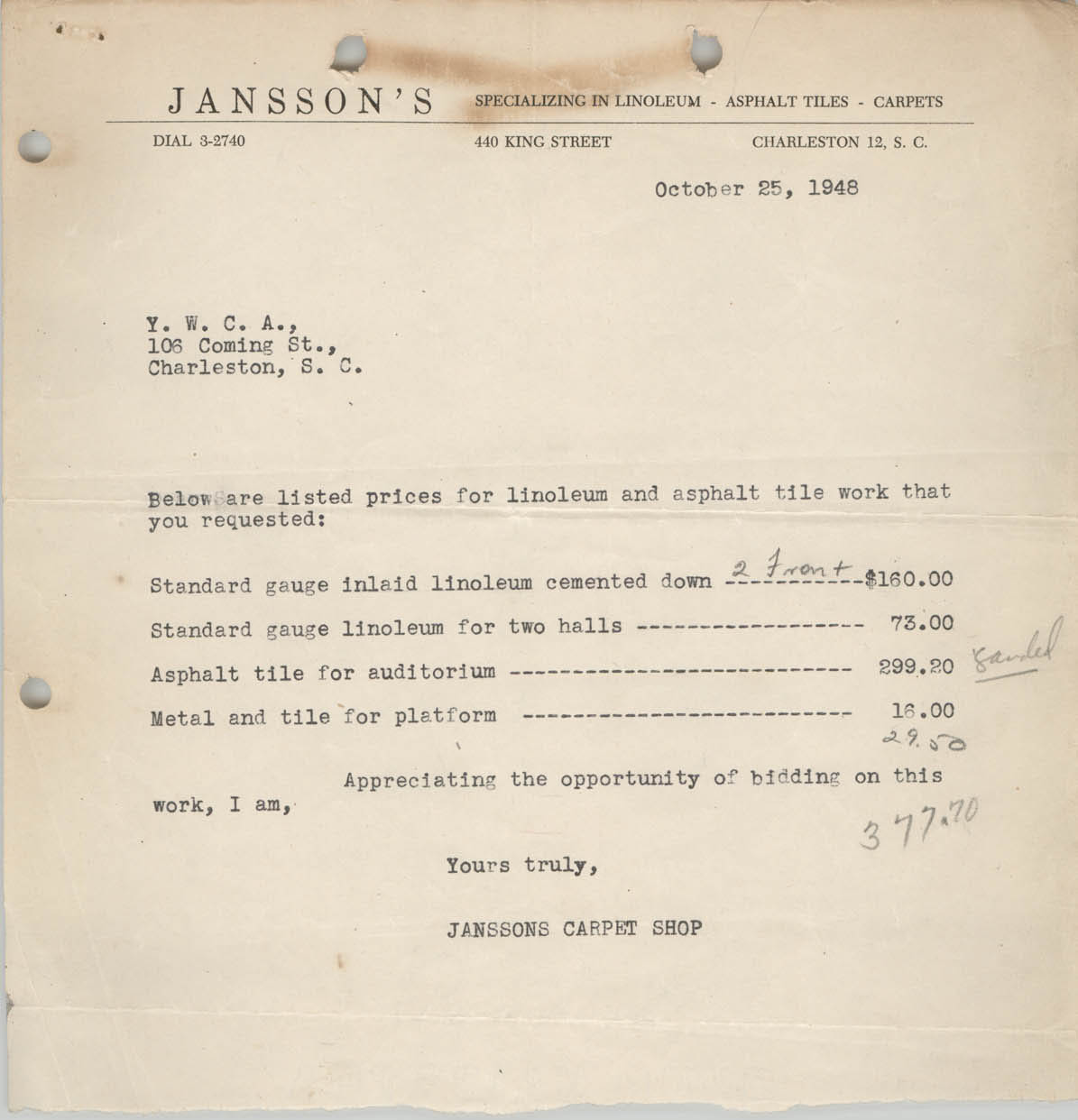 Letter from Janssons Carpet Shop Invoice to Coming Street Y.W.C.A., October 25, 1948