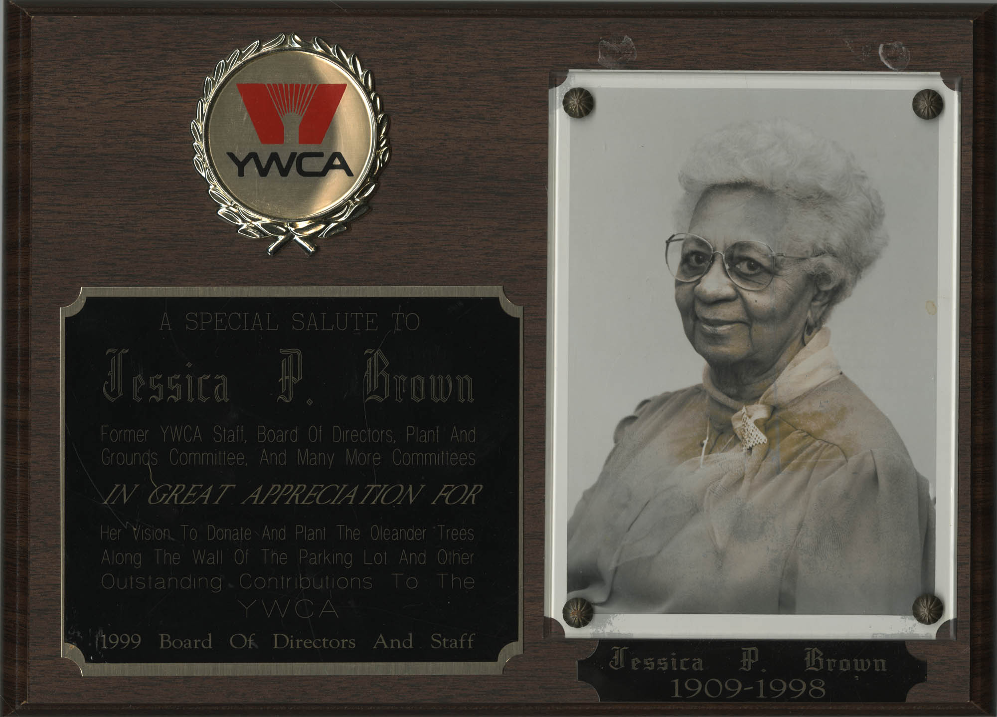 Plaque, Y.W.C.A. of Greater Charleston Award for Jessica P. Brown