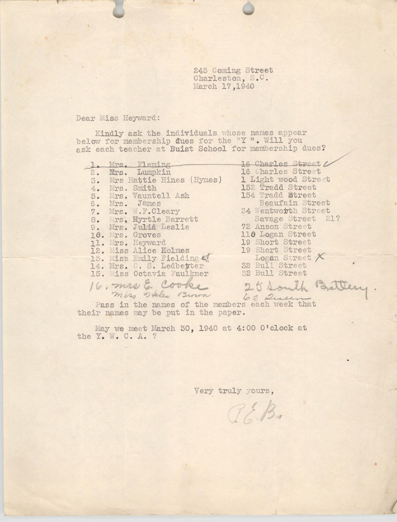 Letter to Miss Heyward, March 17, 1940