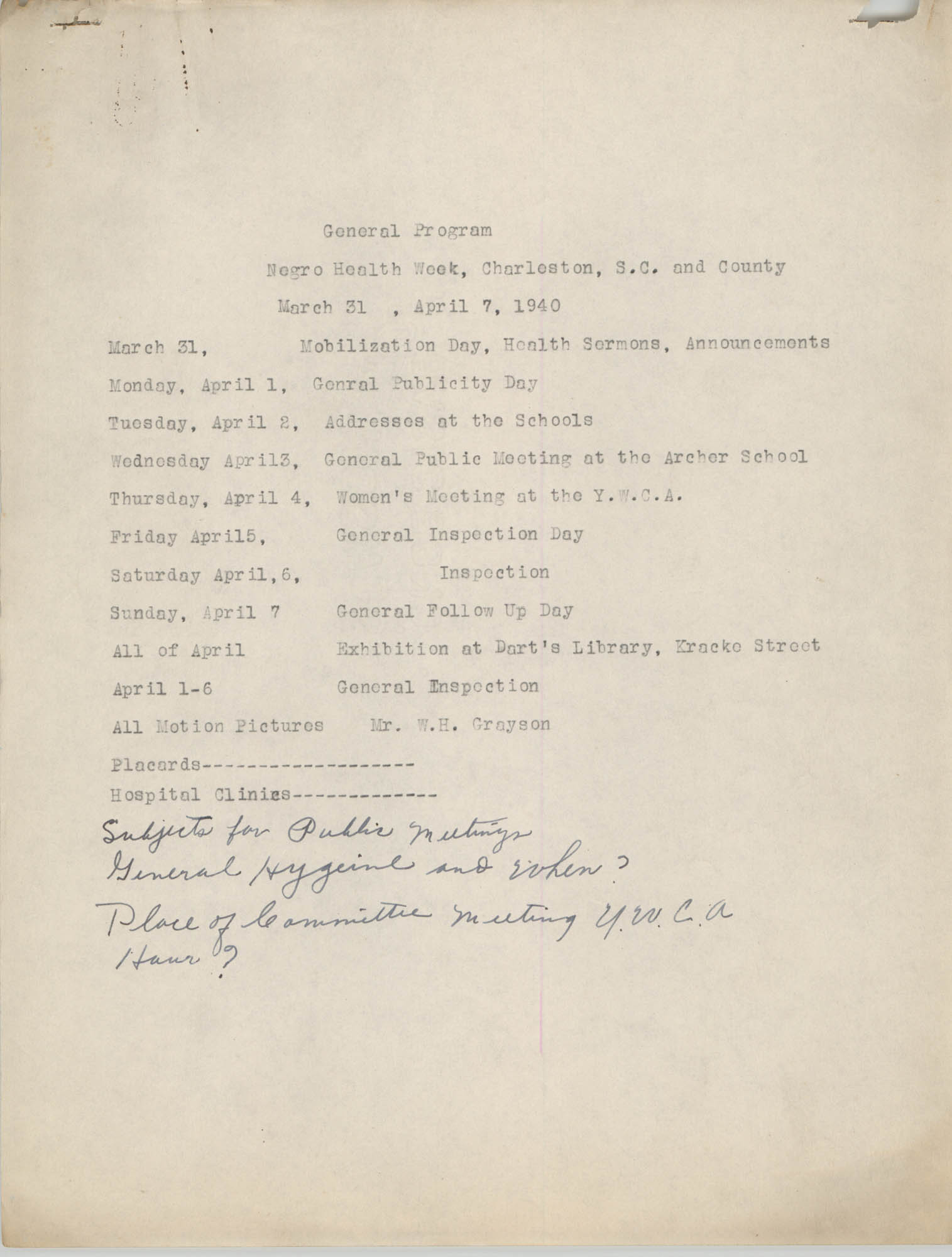 General Program for Negro Health Week, March 31 to April 7, 1940