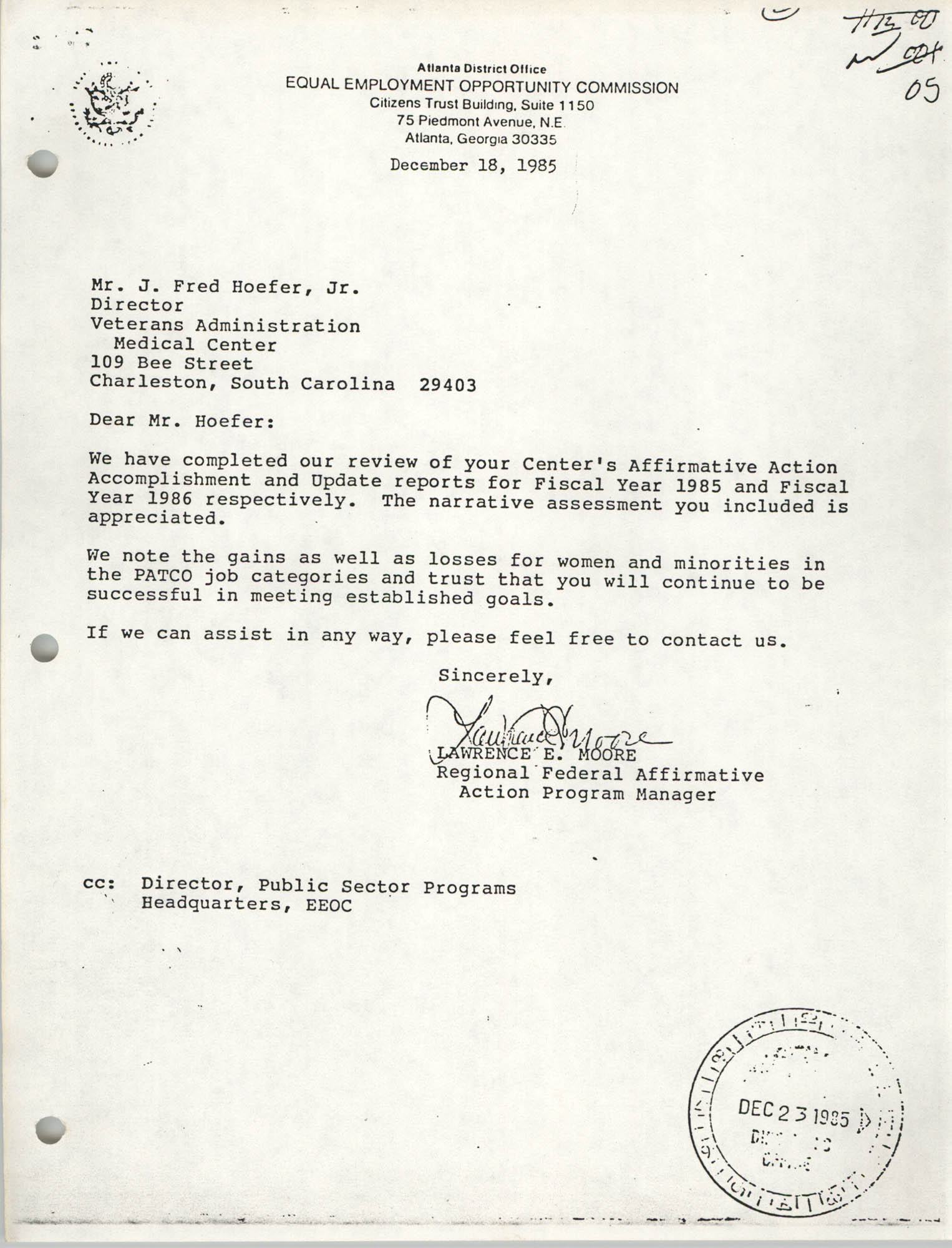Letter from Lawrence E. Moore to J. Fred Hoefer Jr., December 13, 1985