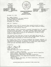 Letter from Frank Frazier, Jr. to James Clyburn,  October 17, 1991