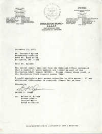 Letter from Dwight C. James to Isazetta Spikes, December 23, 1991