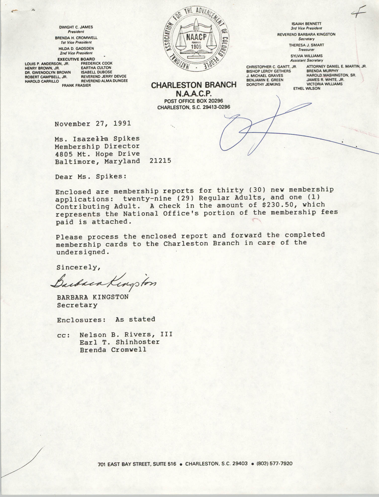 Letter from Barbara Kingston to Isazetta Spikes, November 27, 1991