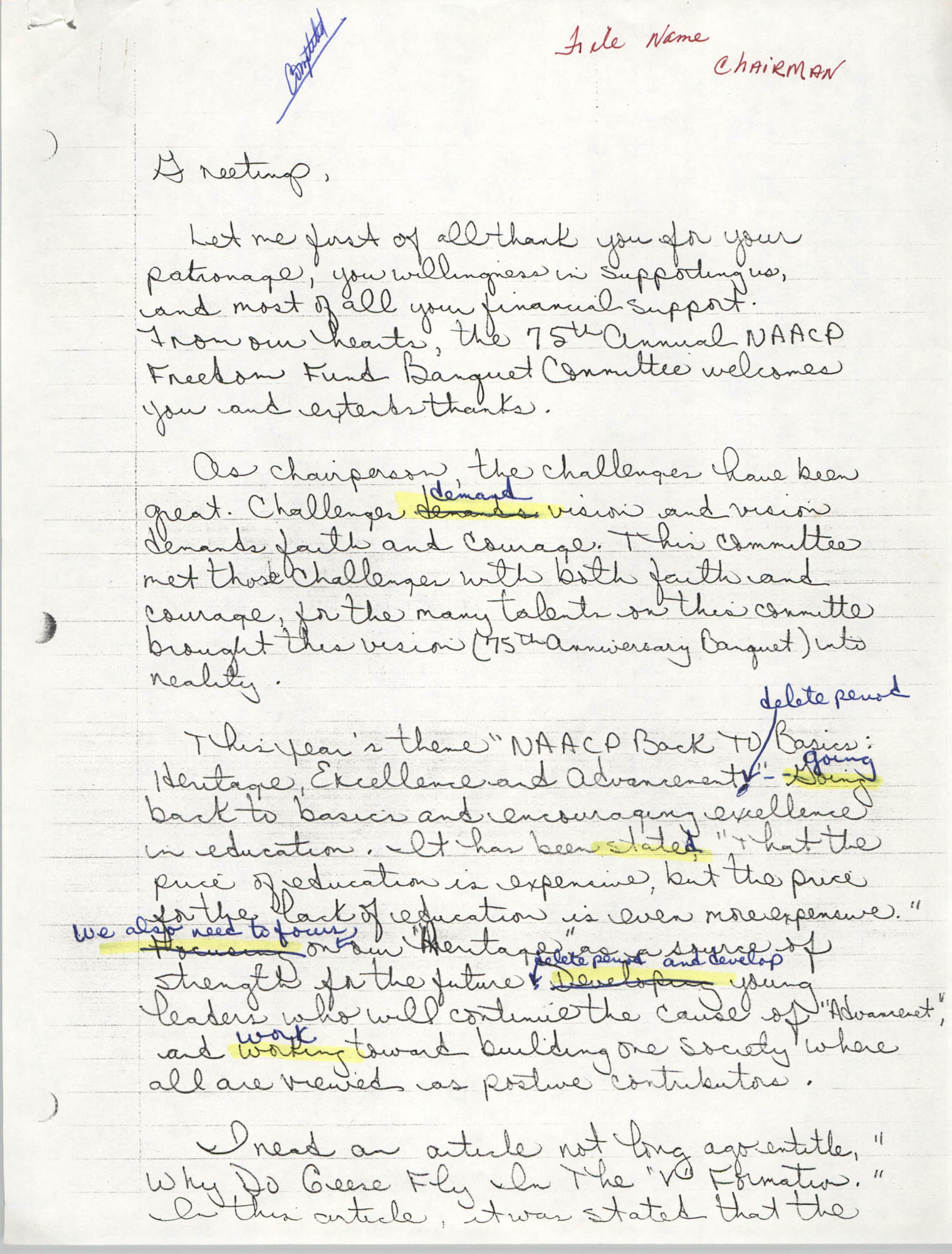 Draft, Handwritten Speech, 1991 Freedom Fund Banquet, David Coleman