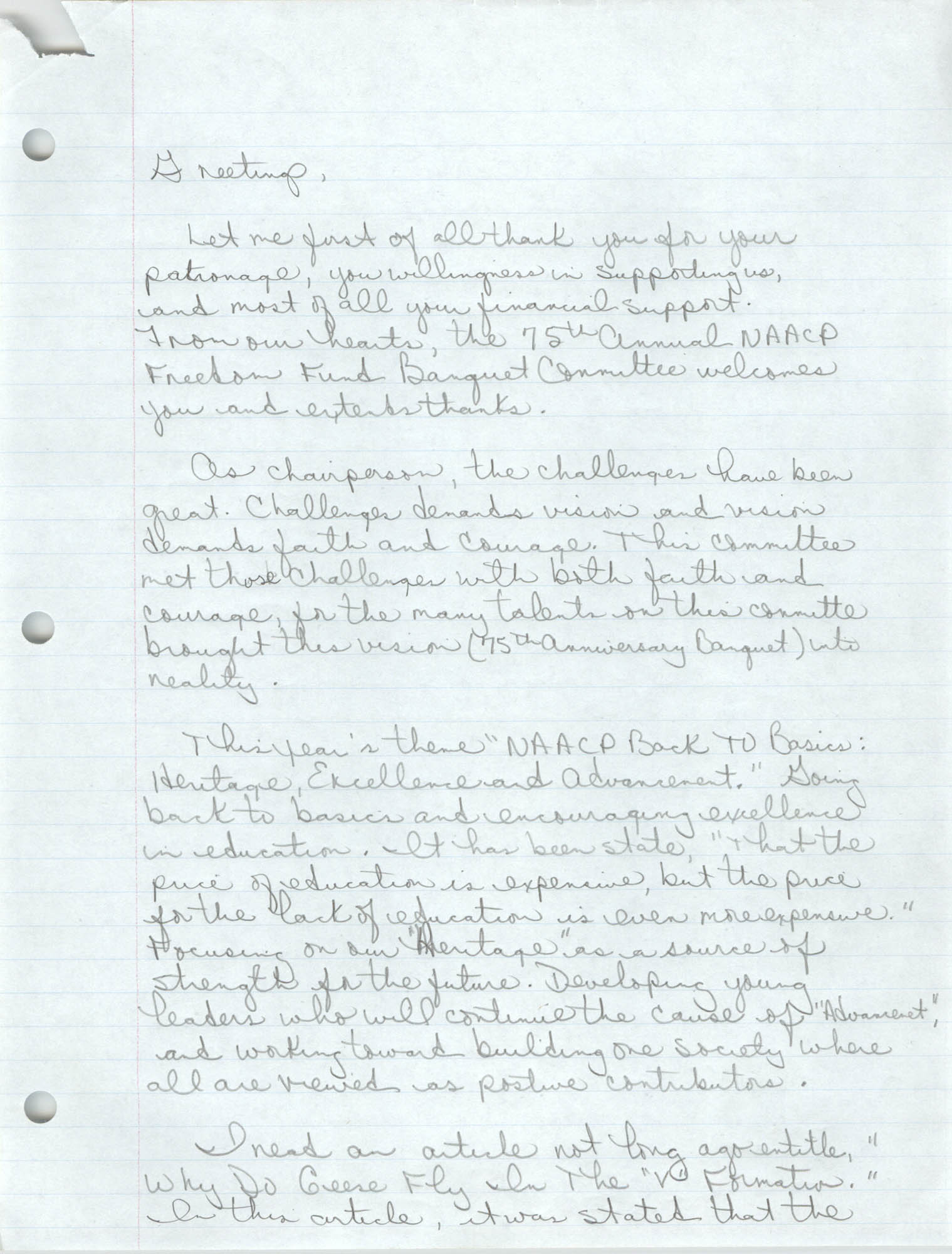 Handwritten Speech, 1991 Freedom Fund Banquet, David Coleman