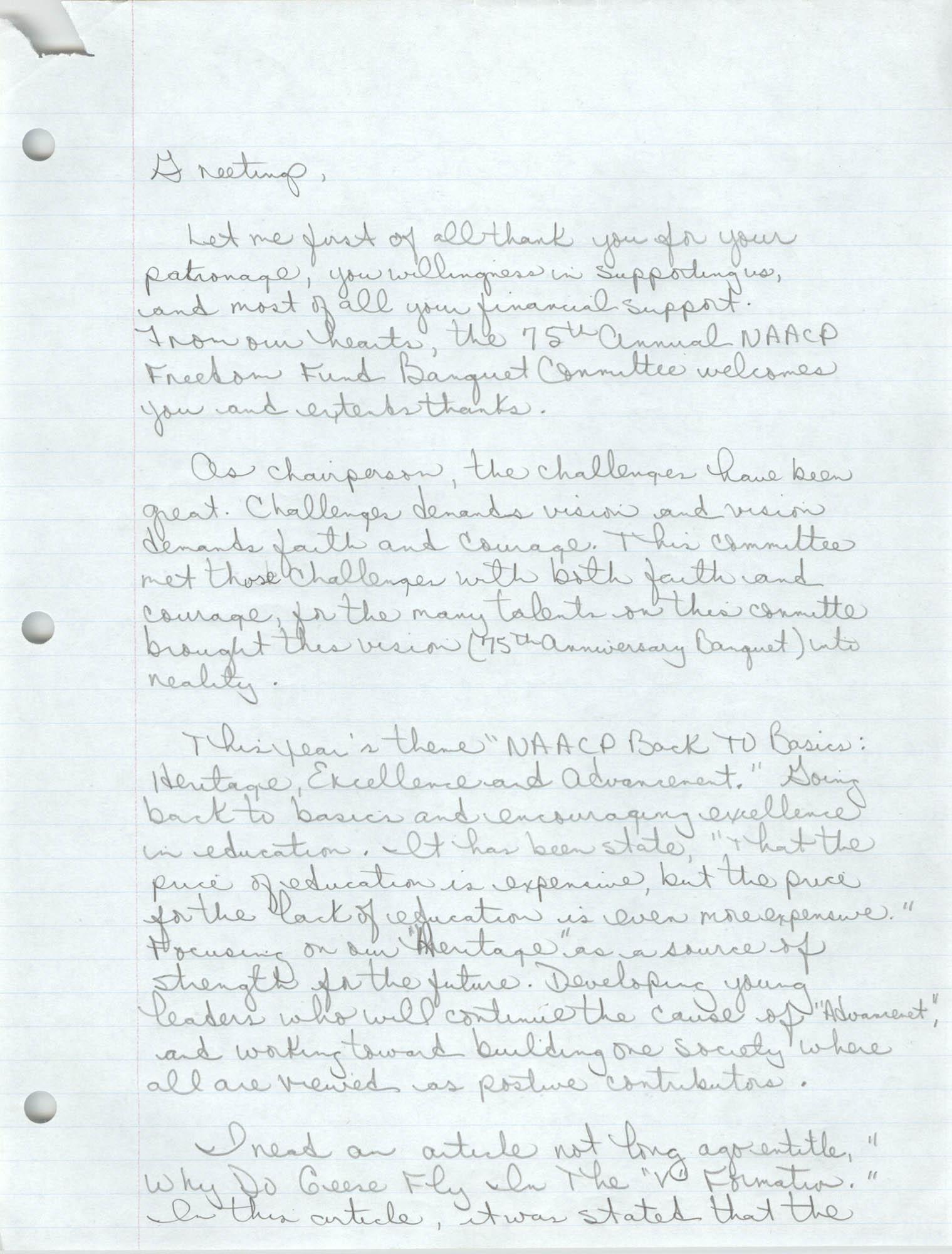 Handwritten Speech, 1991 Freedom Fund Banquet, David Coleman